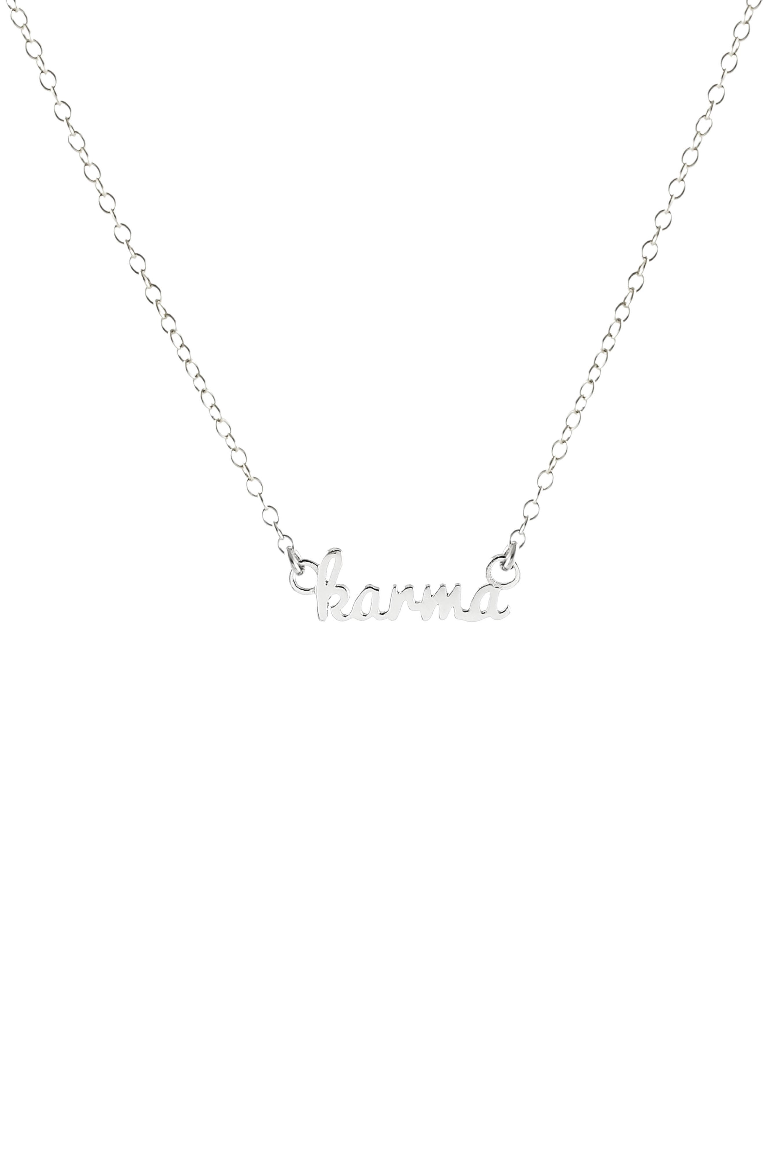 Karma Script Necklace,                         Main,                         color, SILVER
