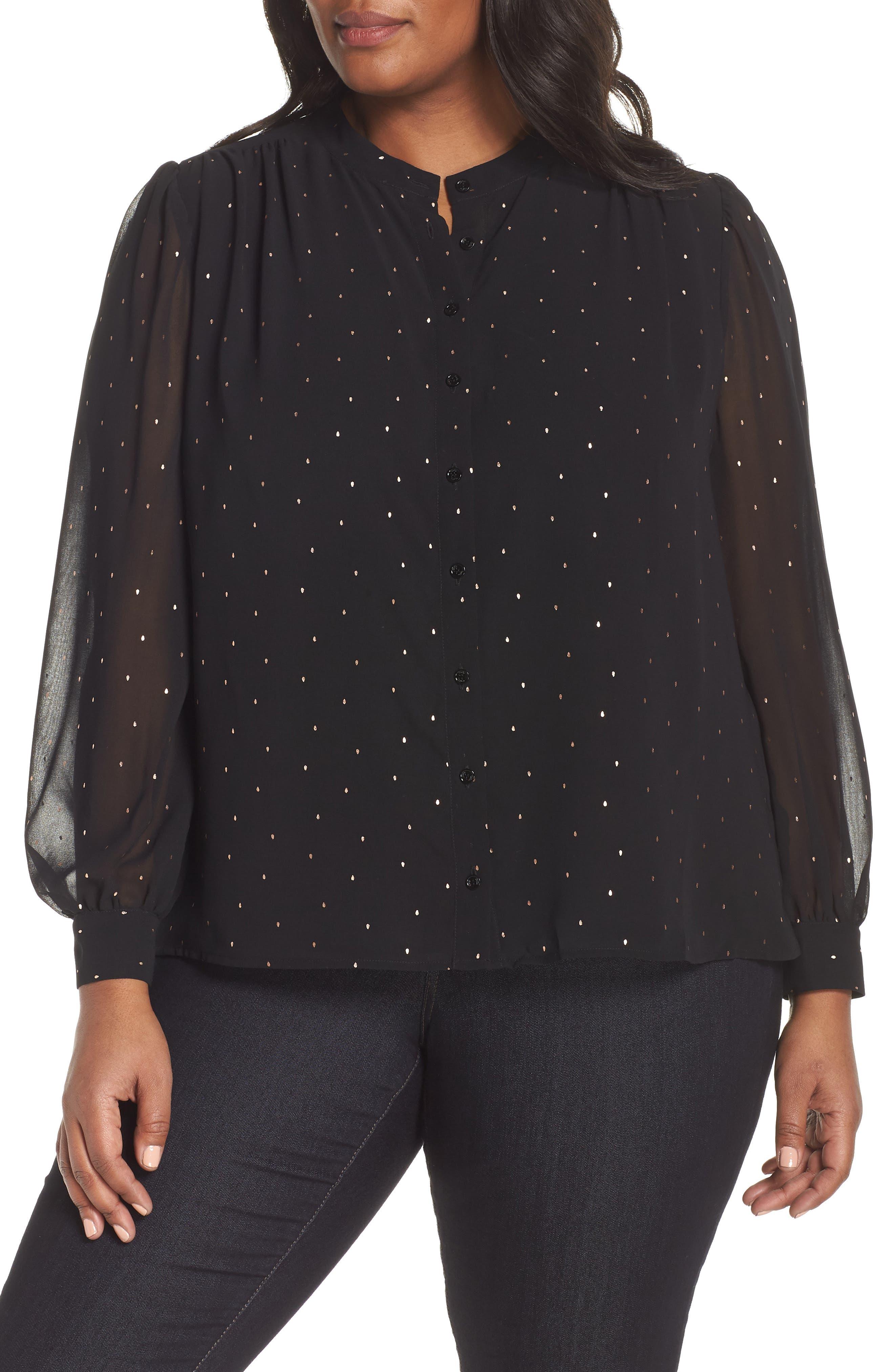 Foil Dot Blouse,                         Main,                         color, RICH BLACK