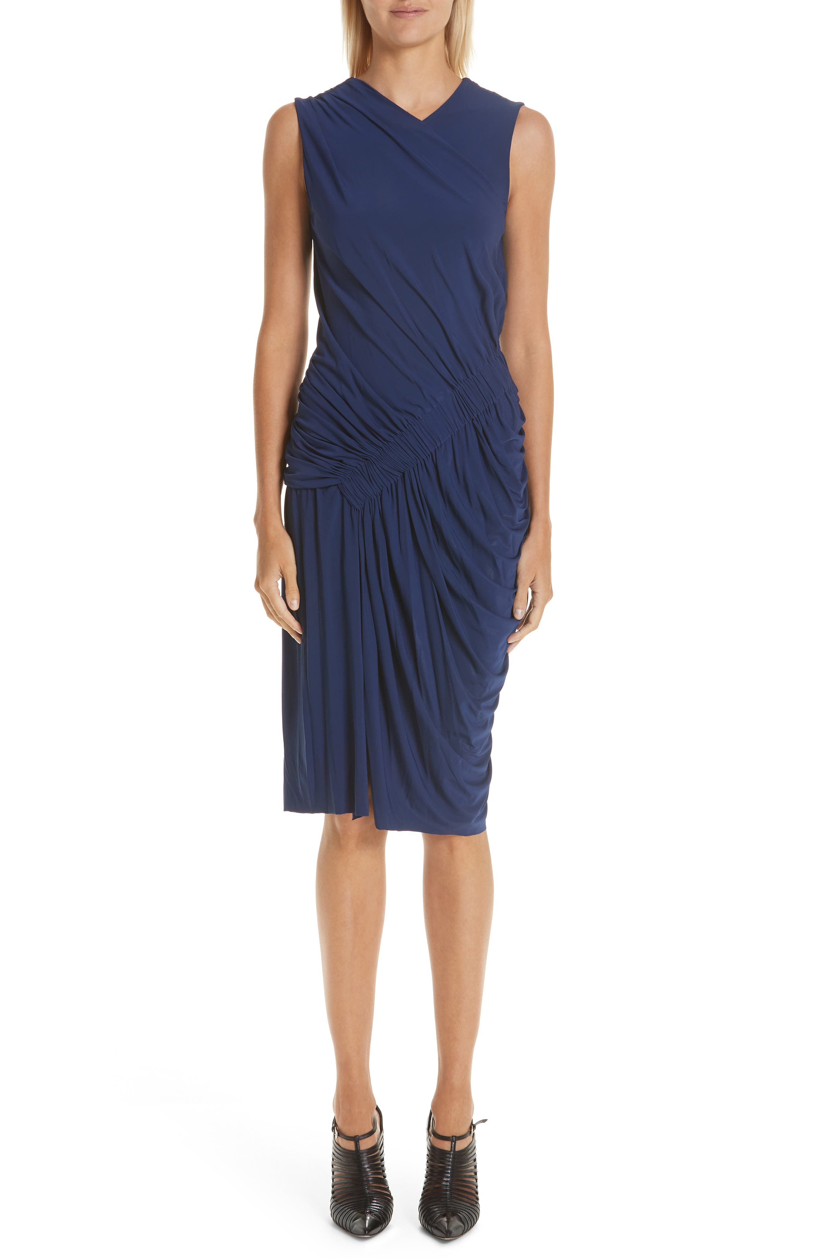 JASON WU Sleeveless Stretch-Cady Ruched Cocktail Dress in Sapphire Blue