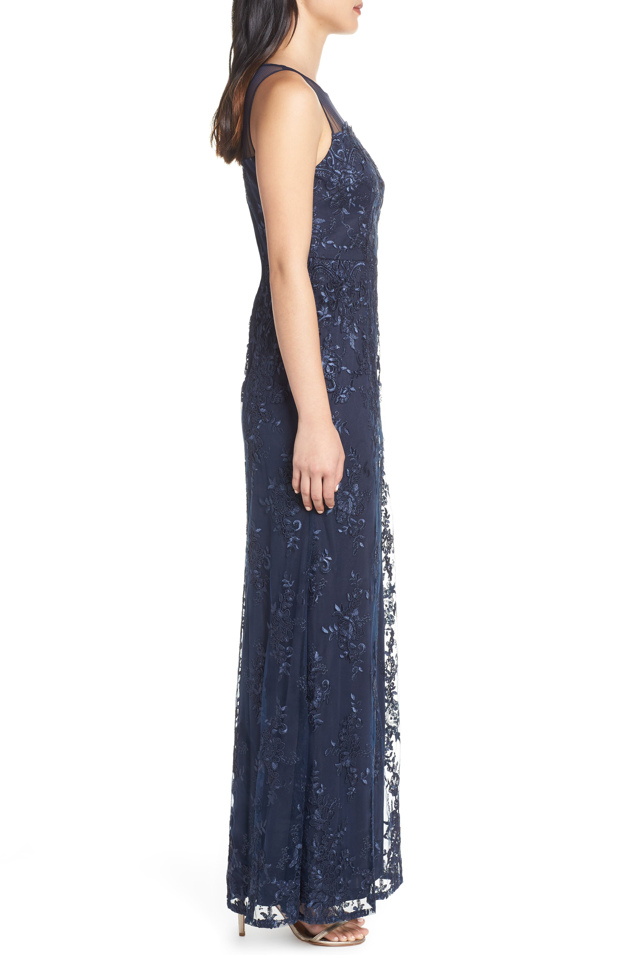 ADRIANNA PAPELL,                             Corded Lace Evening Dress,                             Alternate thumbnail 4, color,                             MIDNIGHT