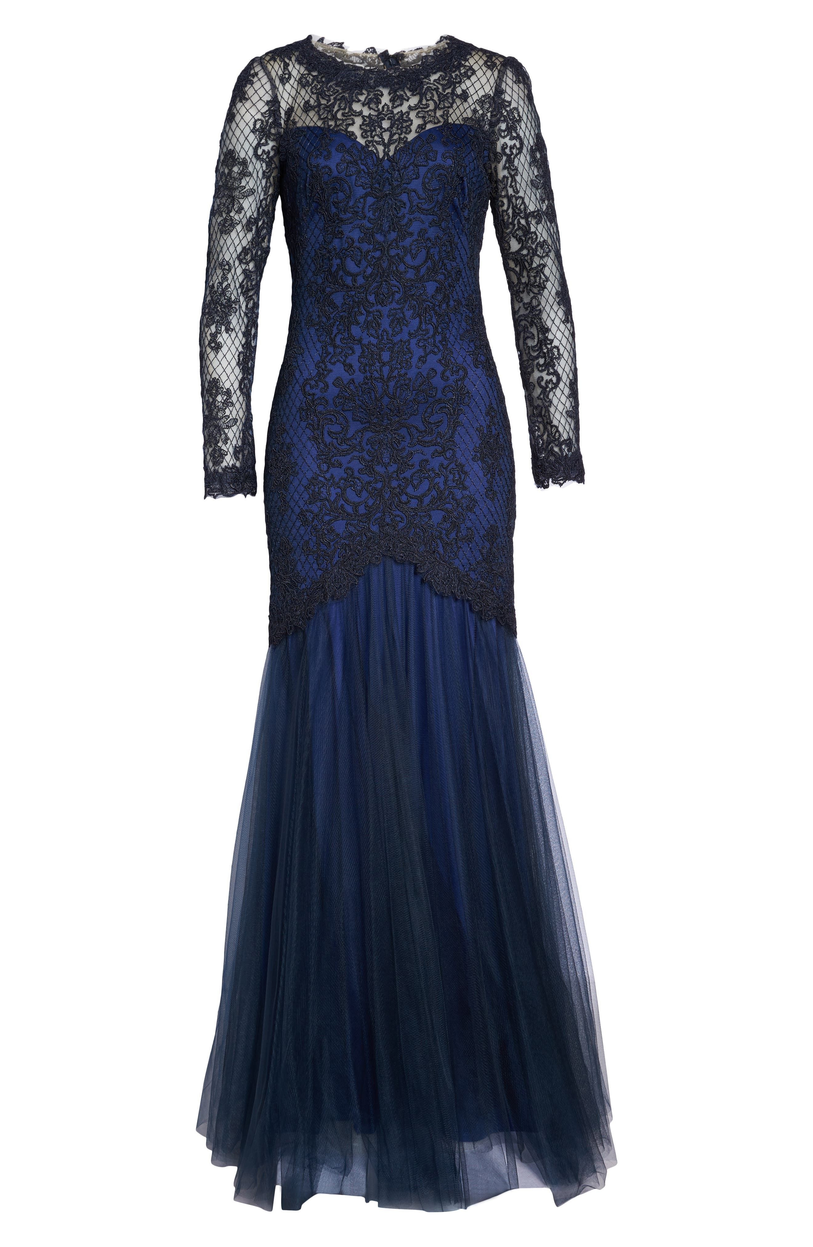 Corded Lace & Tulle Gown,                             Alternate thumbnail 6, color,                             NAVY