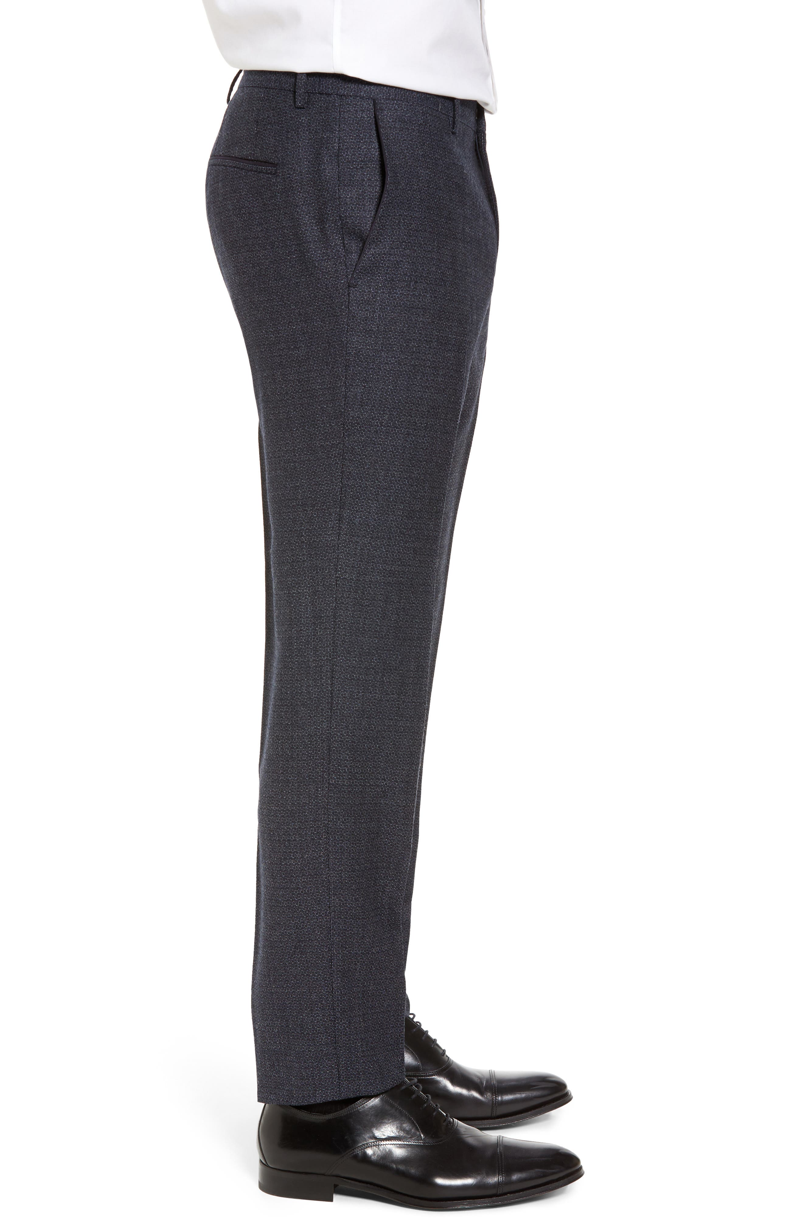 Giro Flat Front Solid Wool Trousers,                             Alternate thumbnail 6, color,