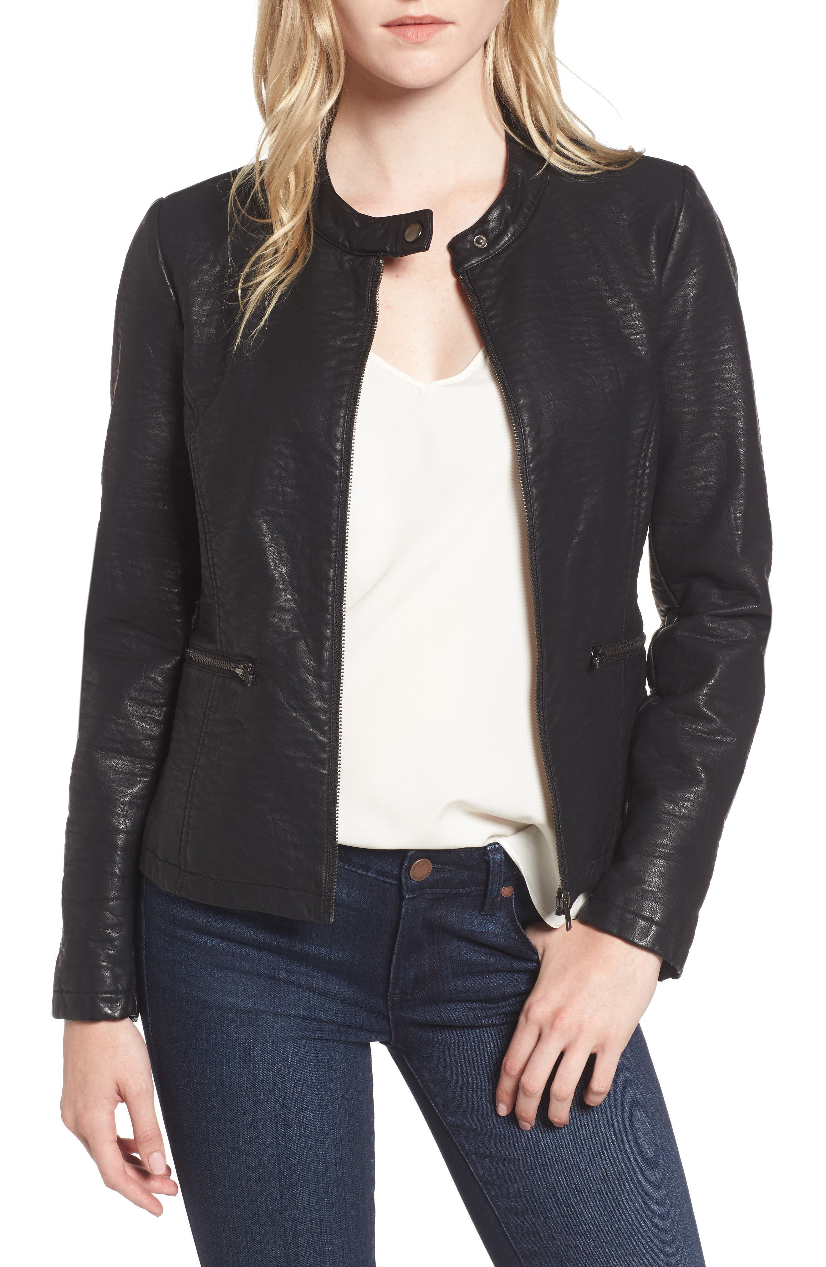 Dolly Faux Leather Jacket,                             Main thumbnail 1, color,                             001