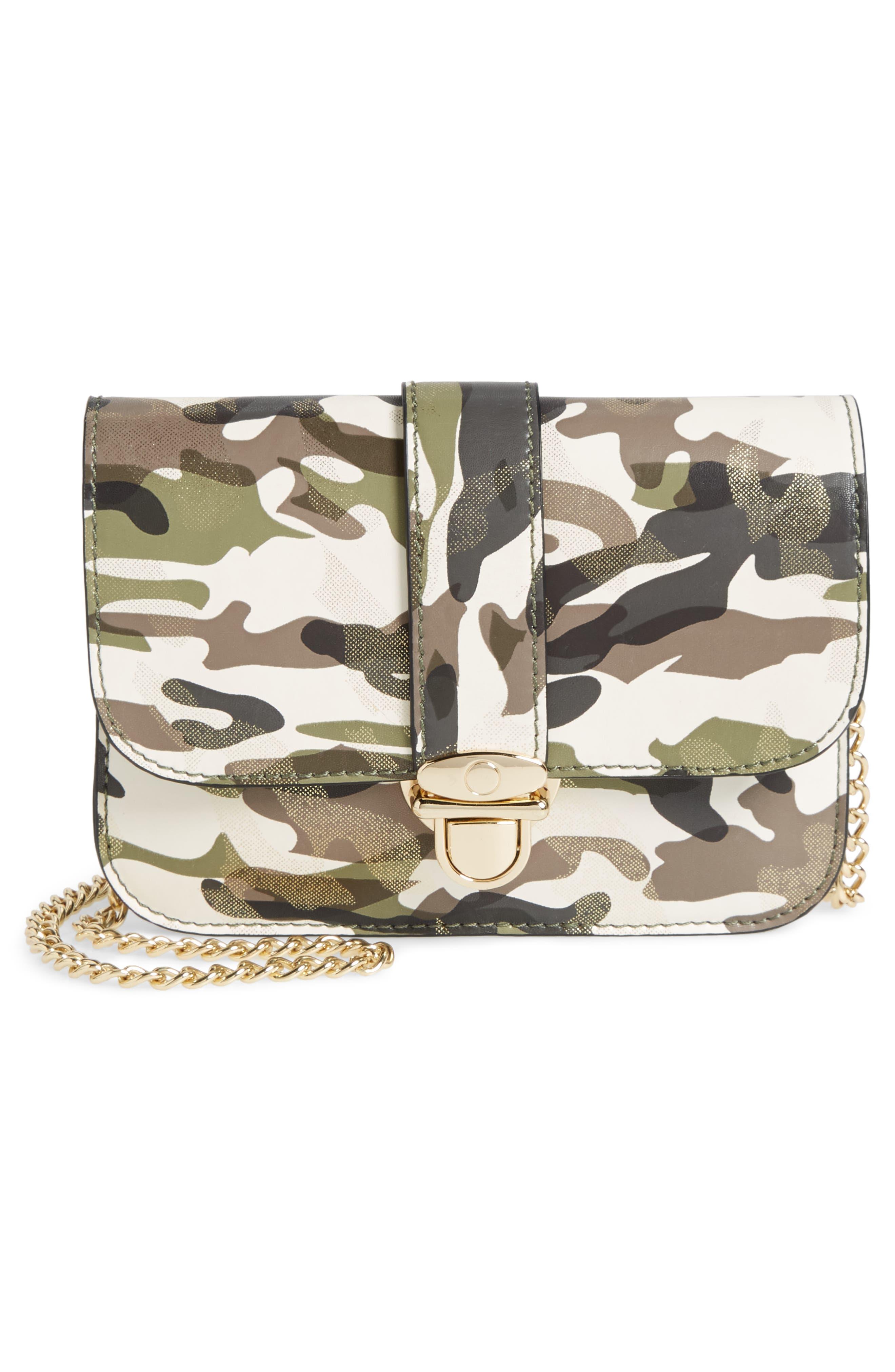 Mali + Lili Stella Camouflage Vegan Leather Crossbody Belt Bag,                             Alternate thumbnail 4, color,                             CAMOUFLAGE