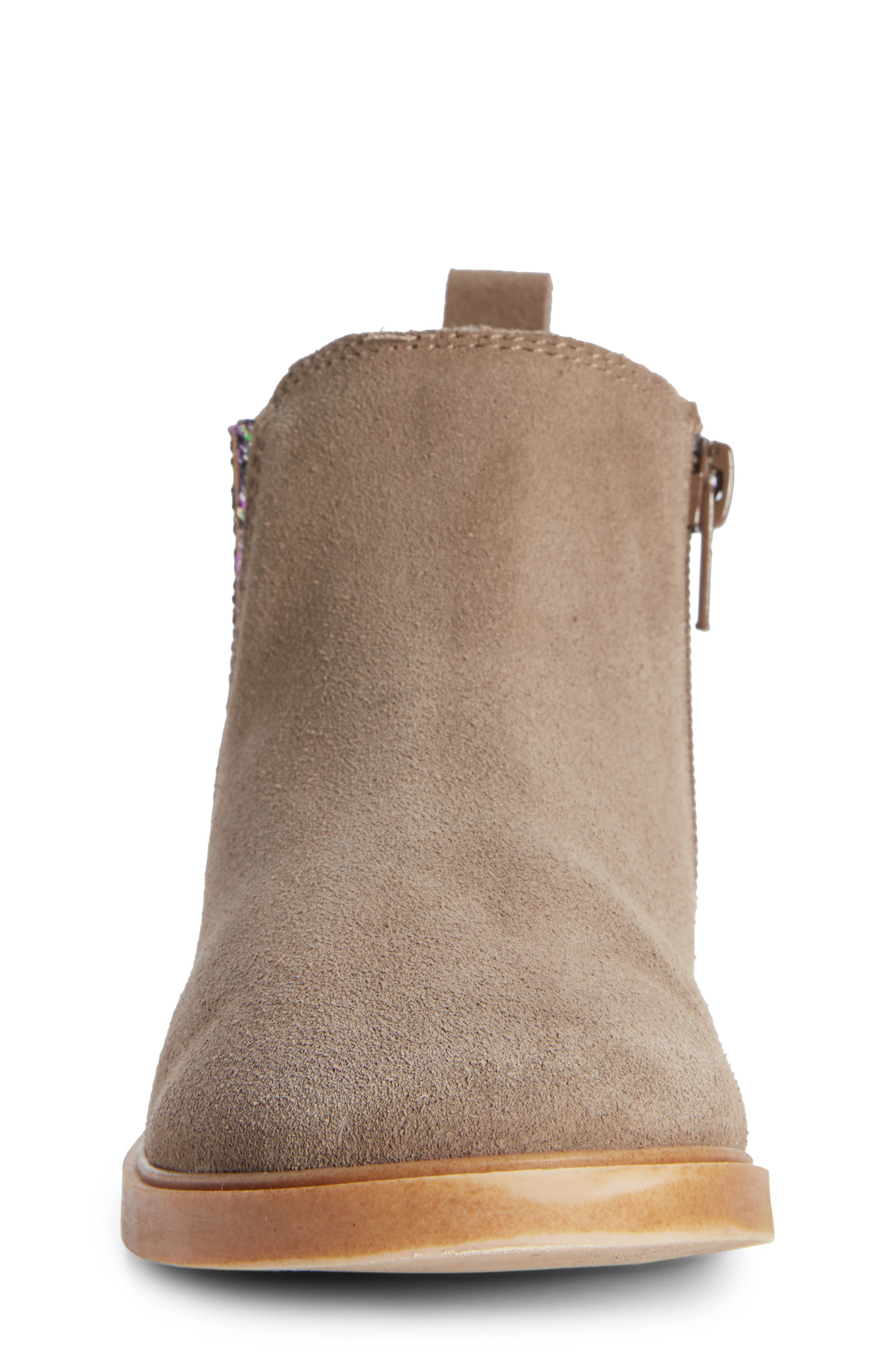 Alice Glitter Chelsea Boot,                             Alternate thumbnail 4, color,                             GREY SUEDE