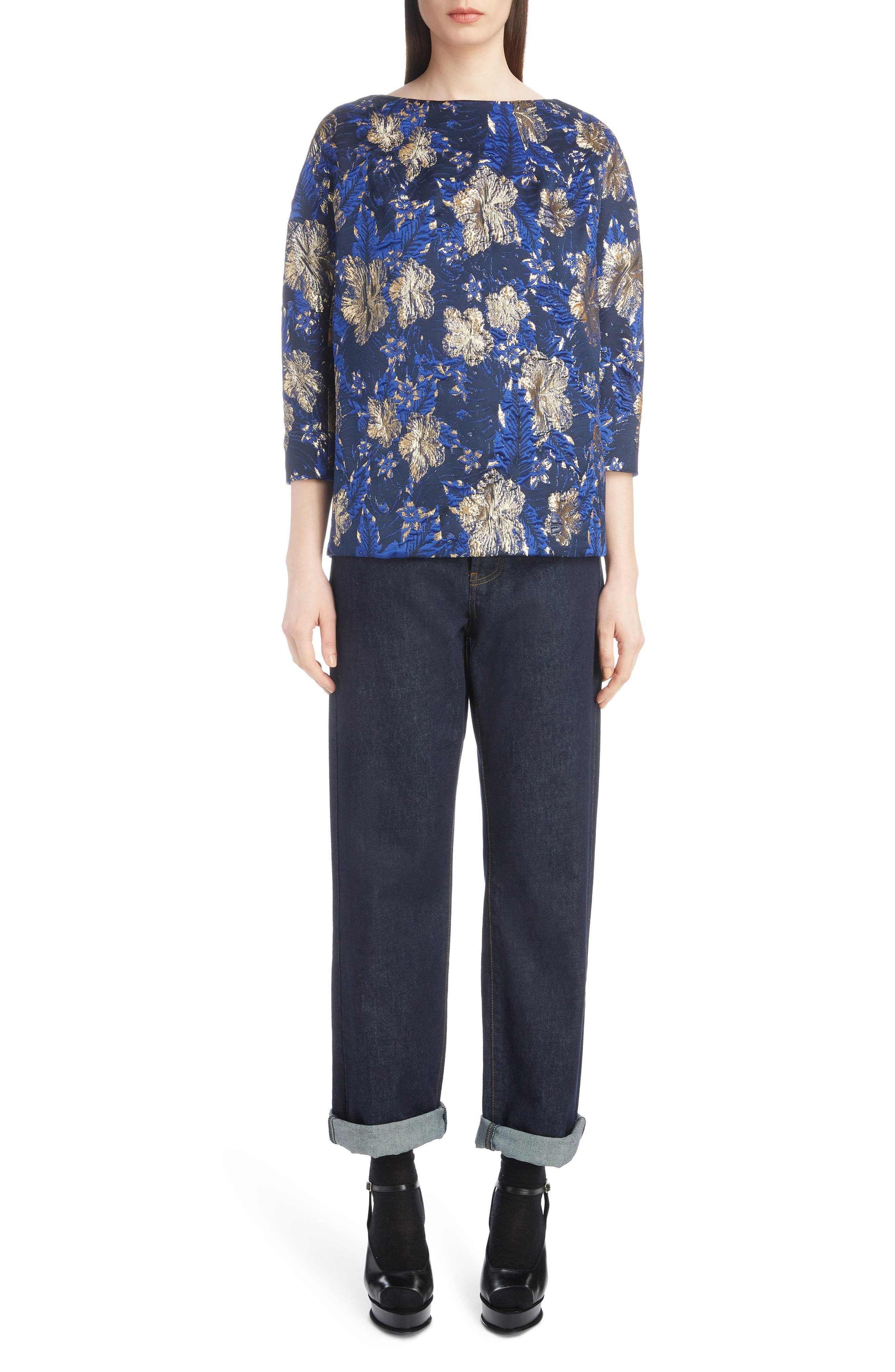Metallic Floral Jacquard Top,                             Alternate thumbnail 6, color,                             BLUE
