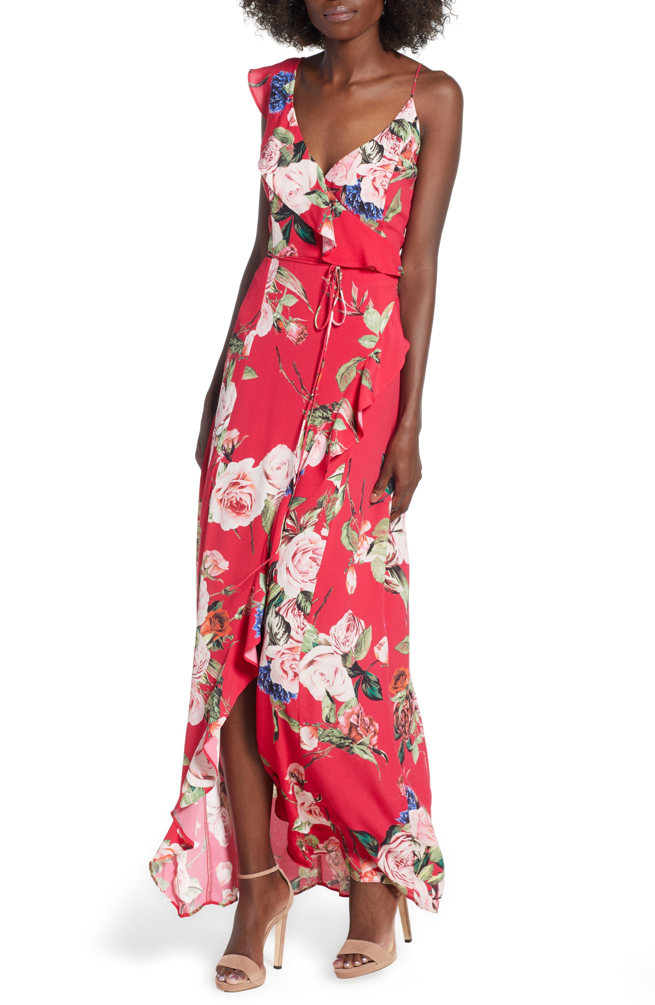 Bowen Wrap Maxi Dress,                             Main thumbnail 1, color,                             600