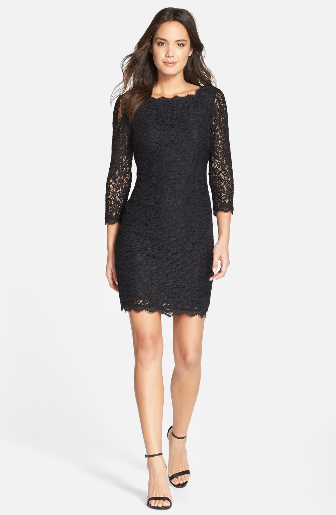 Lace Overlay Sheath Dress,                             Alternate thumbnail 10, color,                             001
