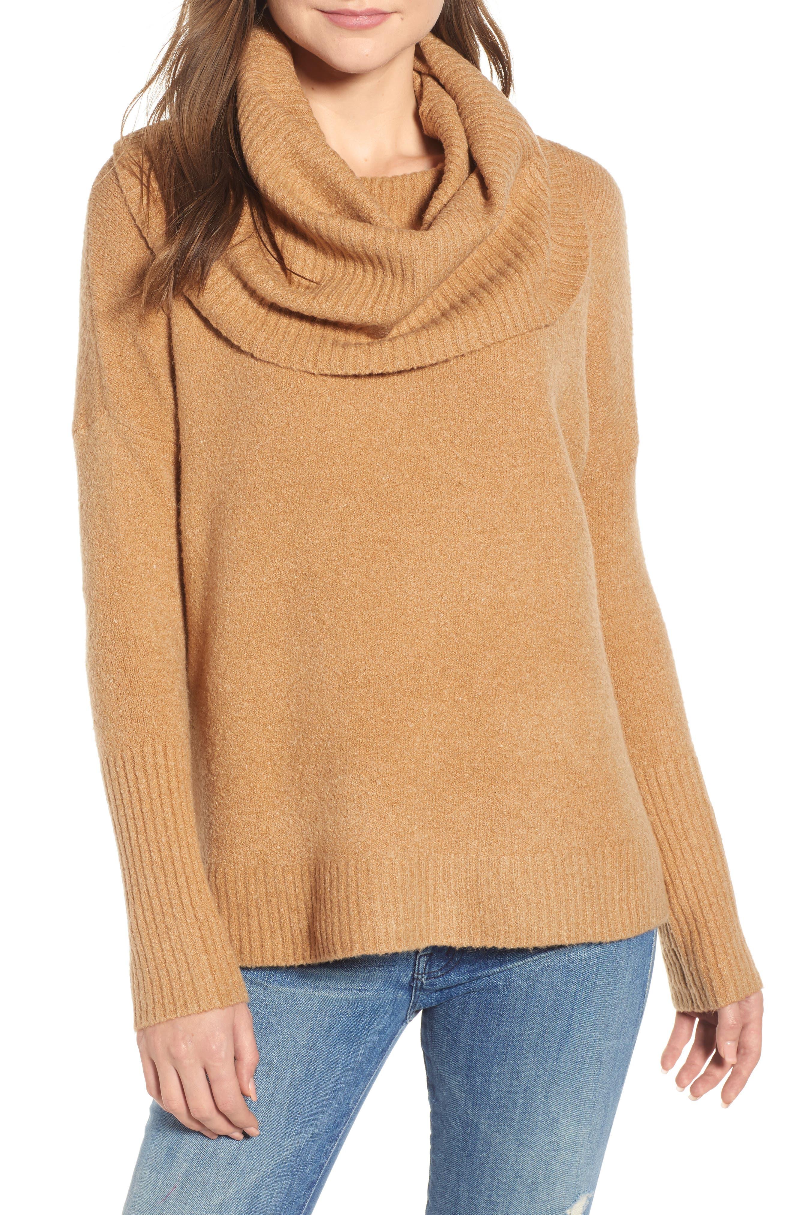 Cowl Neck Sweater,                             Main thumbnail 1, color,                             CAMEL MEL