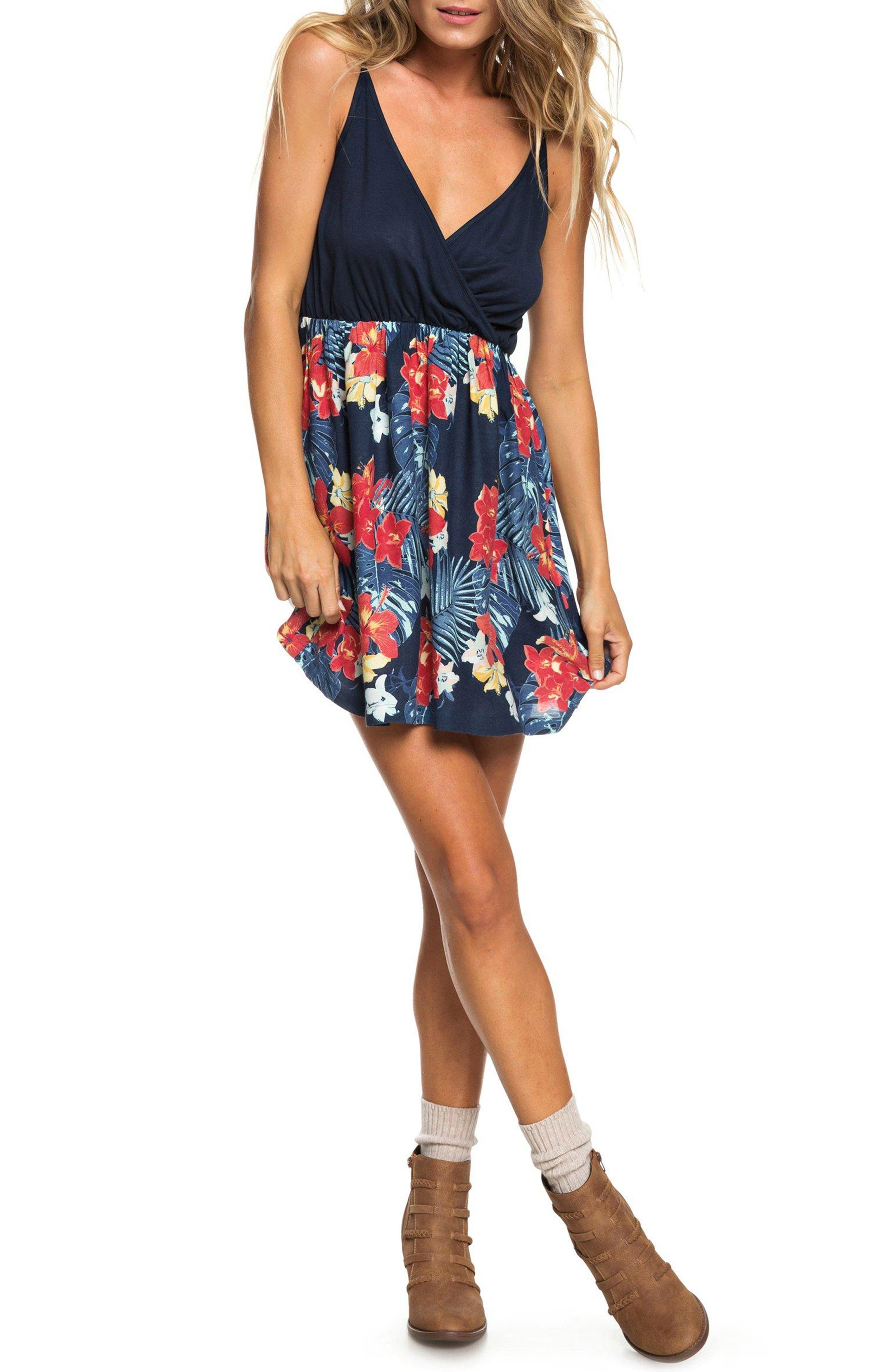 Floral Offering Minidress, Main, color, DRESS BLUE