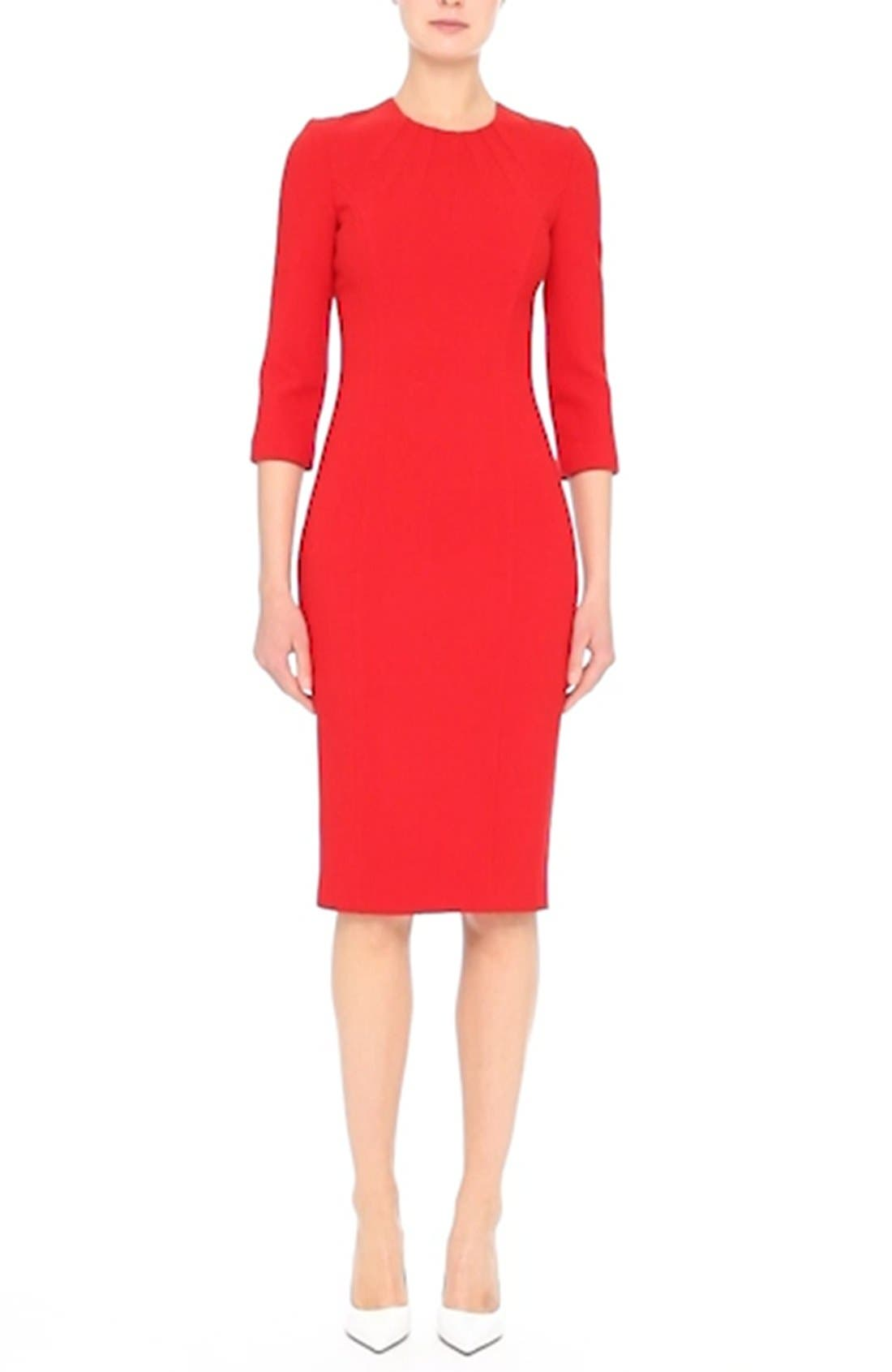 Stretch Wool Bouclé Sheath Dress,                             Alternate thumbnail 8, color,                             600