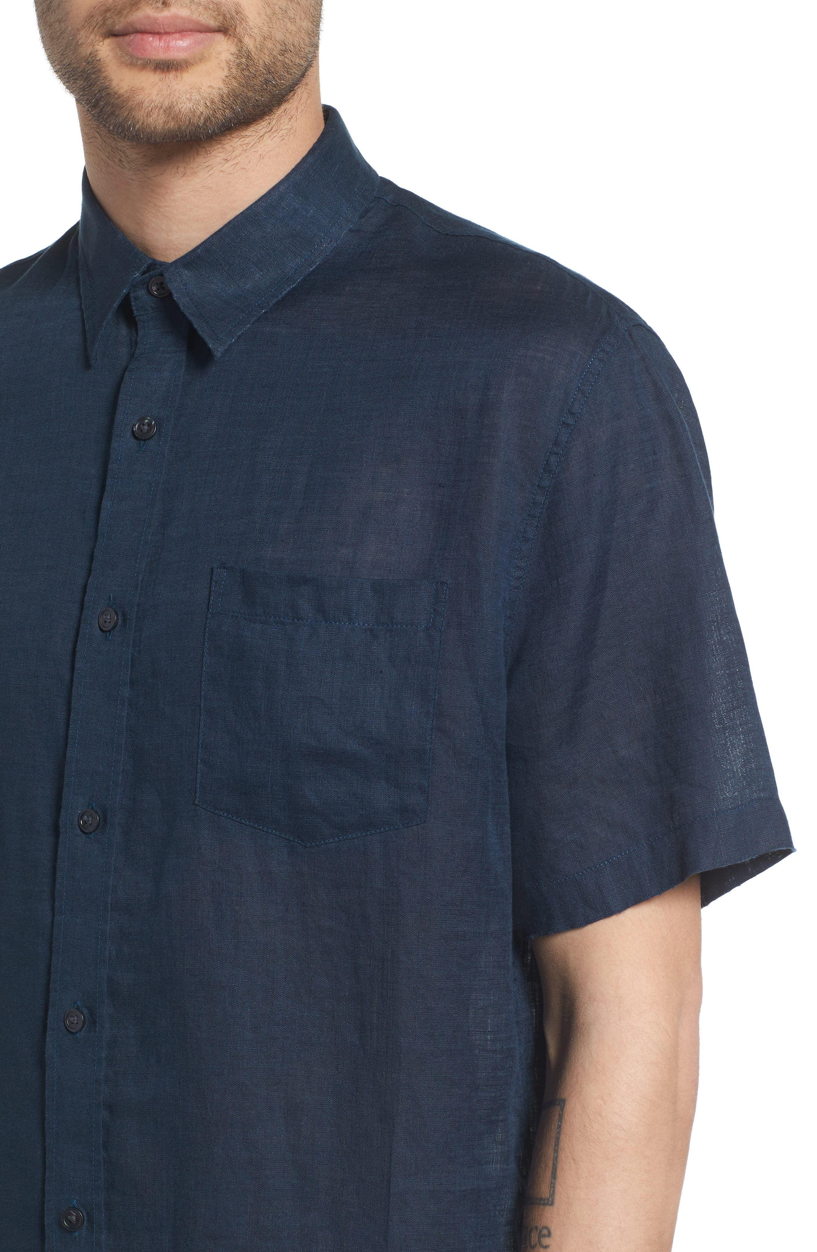 Classic Fit Washed Short Sleeve Sport Shirt,                             Alternate thumbnail 4, color,                             464