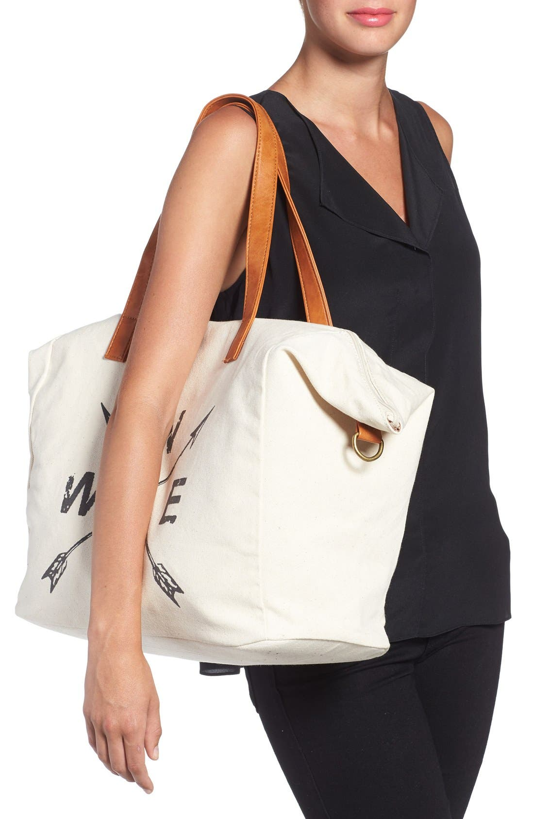 NU-G,                             Slouchy Canvas Overnighter Bag,                             Alternate thumbnail 4, color,                             200