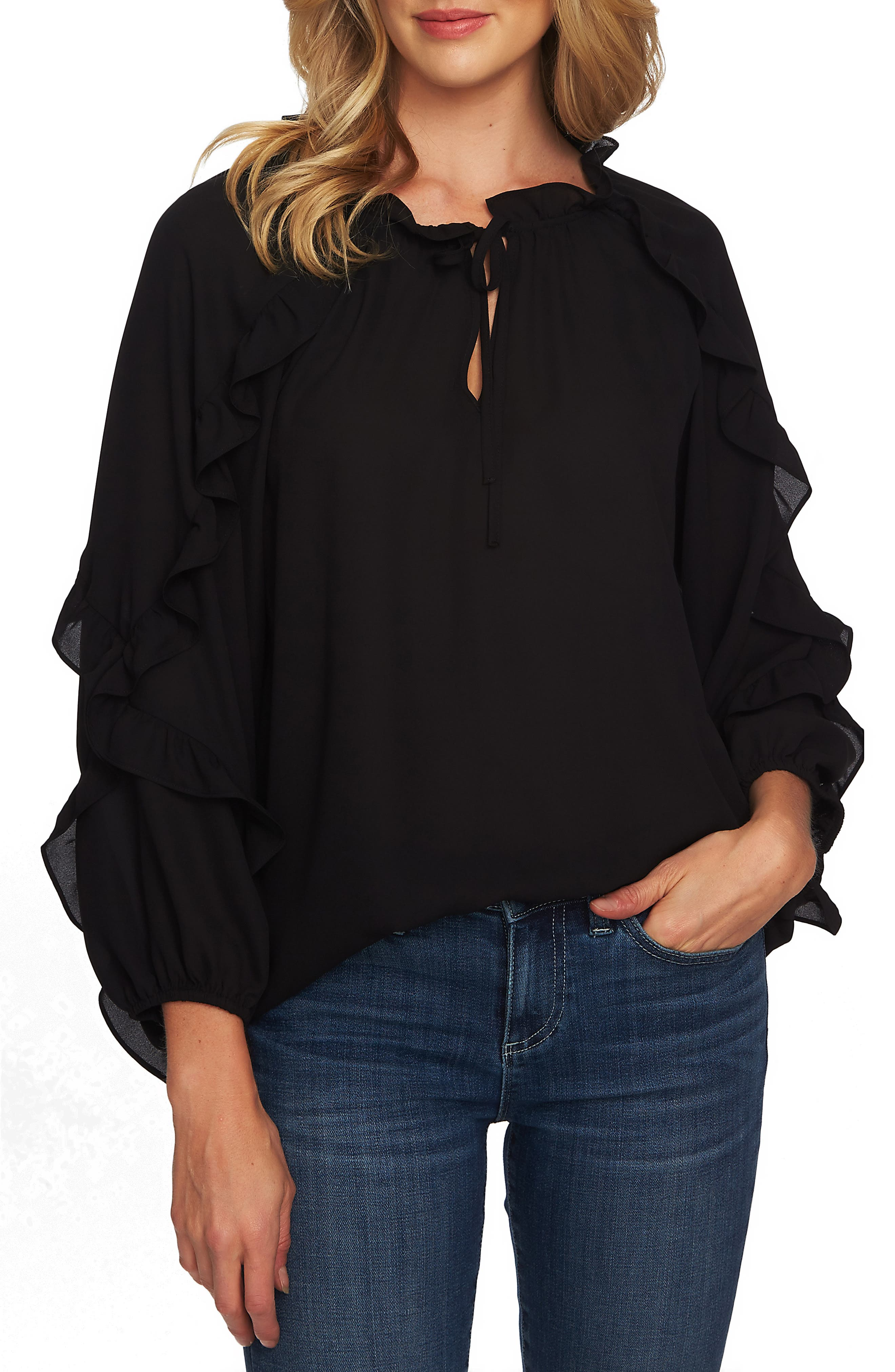Cascading Ruffle Tie Neck Top,                             Alternate thumbnail 3, color,                             RICH BLACK