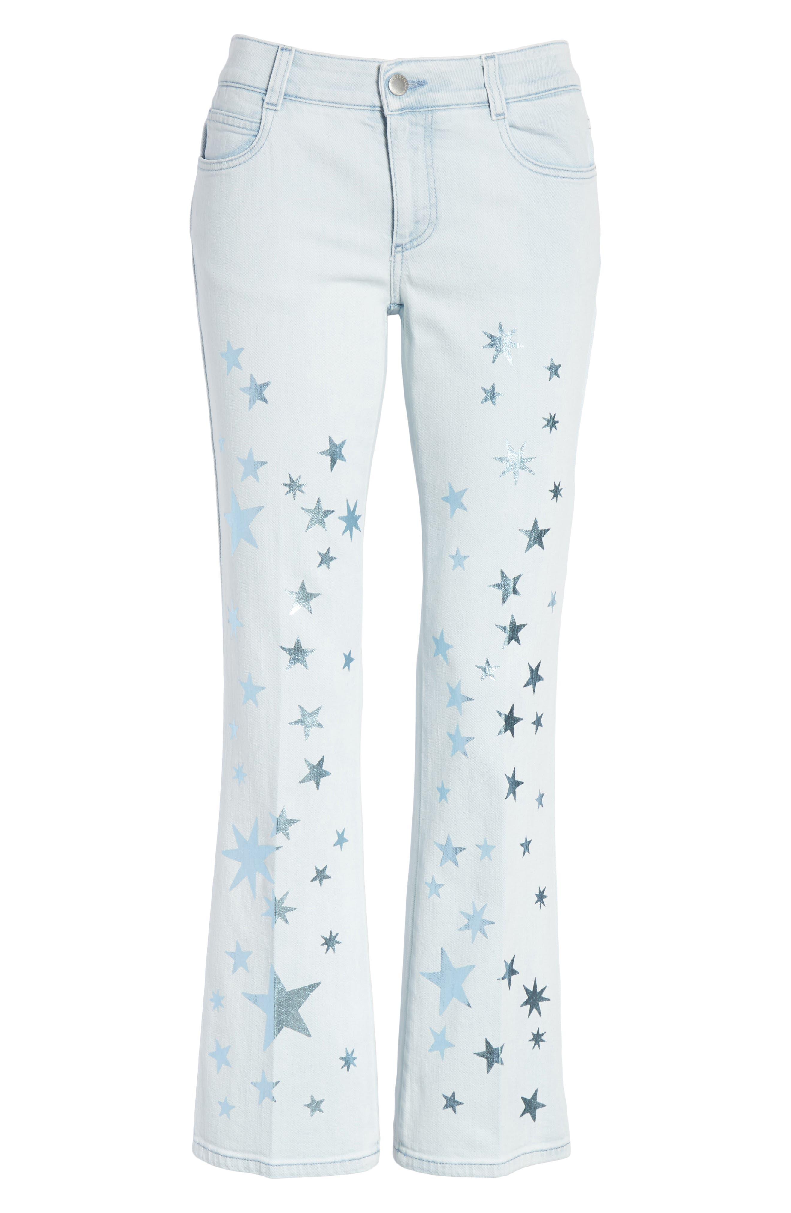 Metallic Star Kick Flare Jeans,                             Alternate thumbnail 6, color,                             464