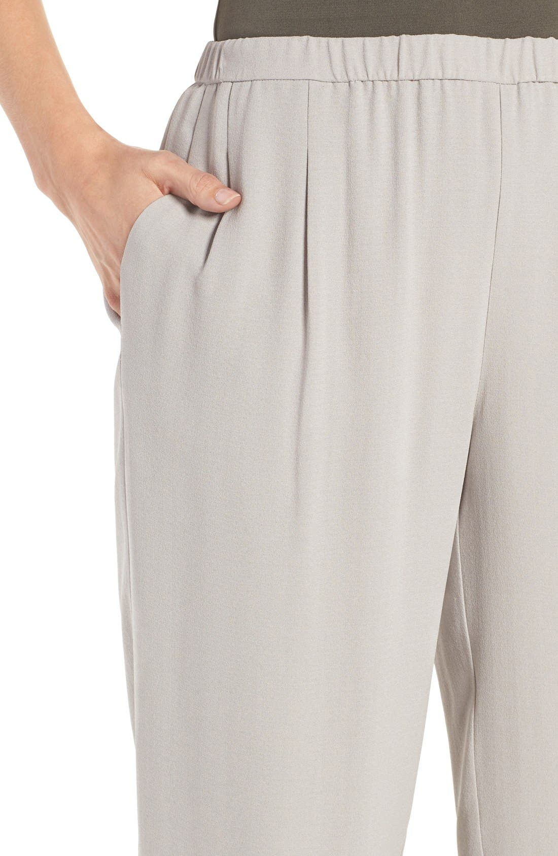 Silk Georgette Crepe Straight Ankle Pants,                             Alternate thumbnail 20, color,