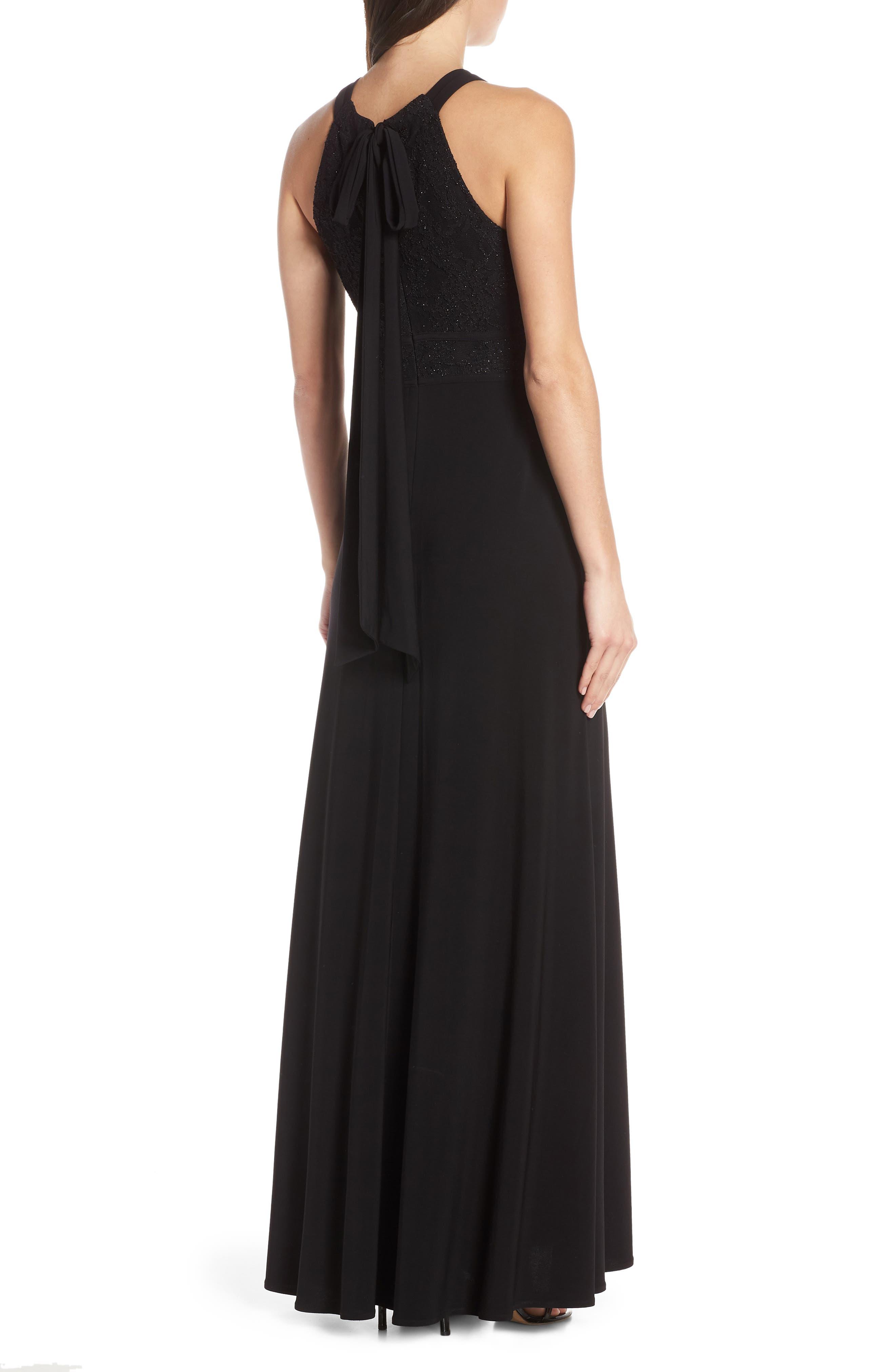 MORGAN & CO.,                             Pleat Lace Bodice Evening Dress,                             Alternate thumbnail 2, color,                             BLACK