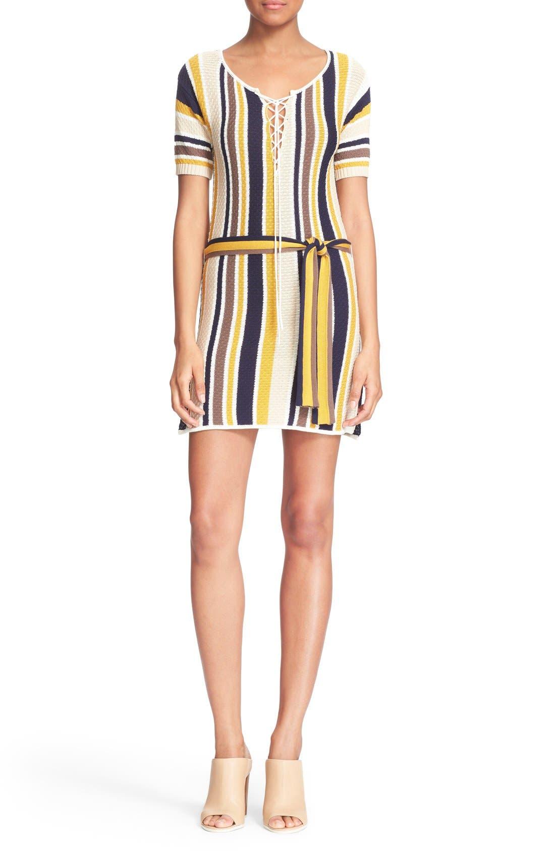 'Le Lace Up' Stripe Shirt Dress,                             Main thumbnail 1, color,                             120