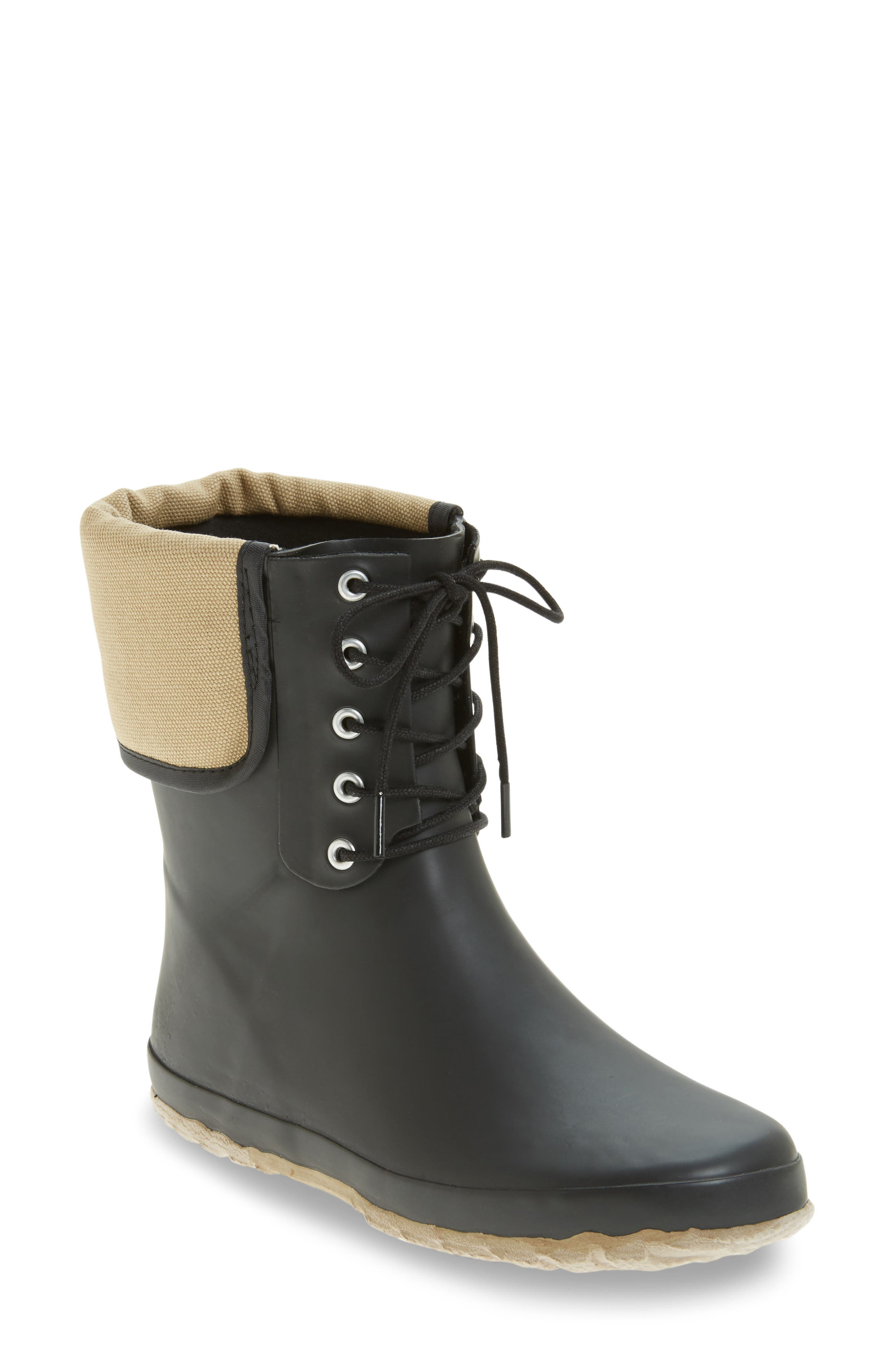Lace-Up Mid Weatherproof Boot,                             Main thumbnail 1, color,                             BLACK