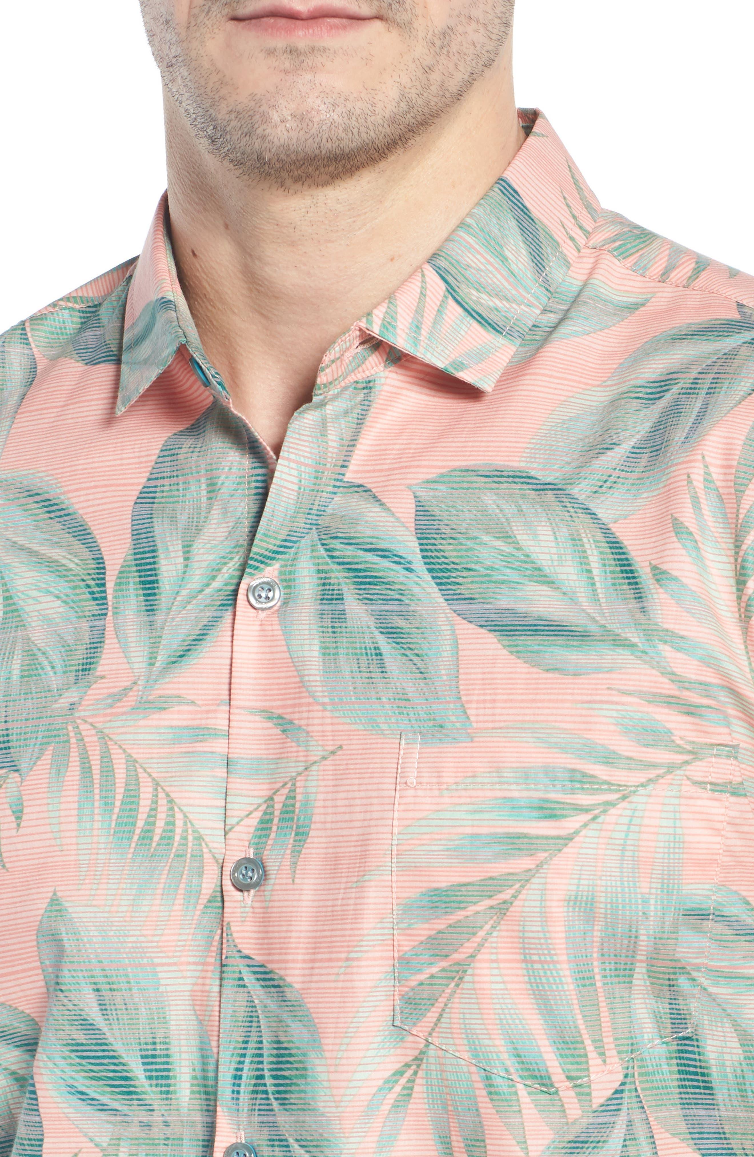 Shade Plant Trim Fit Camp Shirt,                             Alternate thumbnail 4, color,                             BISQUE