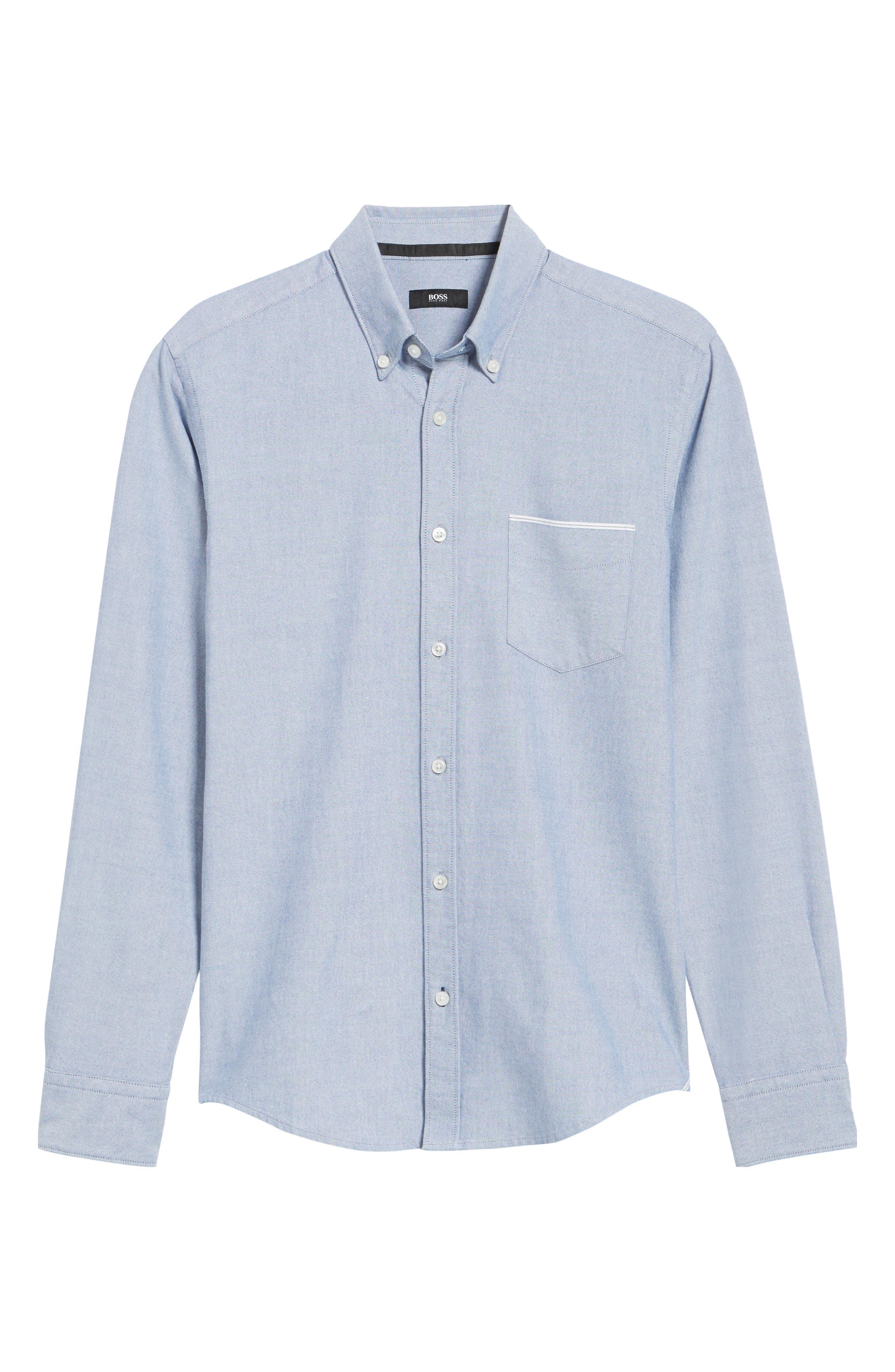 BOSS,                             Rod Trim Fit Solid Sport Shirt,                             Alternate thumbnail 6, color,                             403