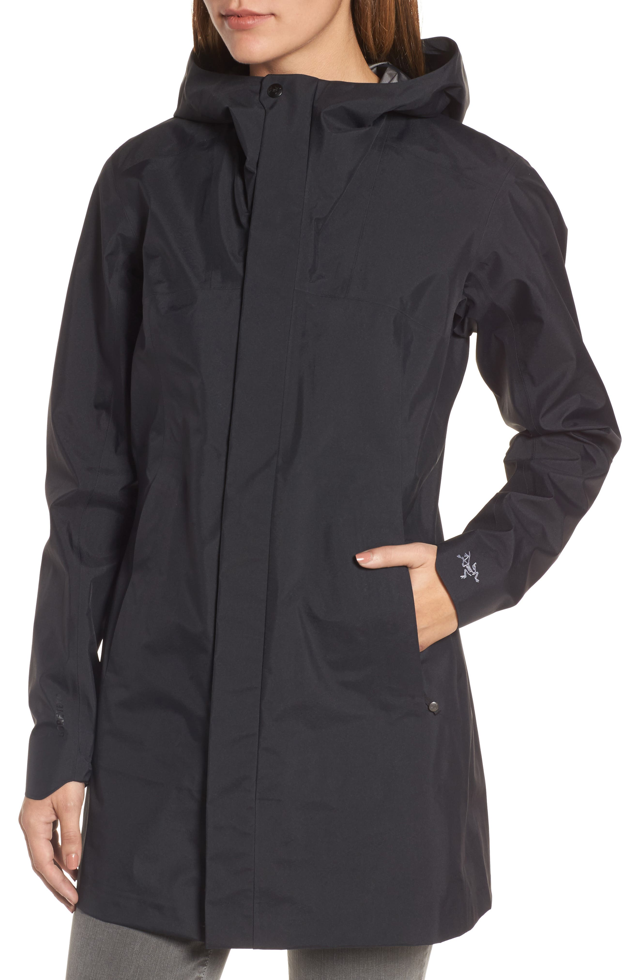 'Codetta' Waterproof Relaxed Fit Gore-Tex<sup>®</sup> 3L Rain Jacket,                             Alternate thumbnail 4, color,                             001