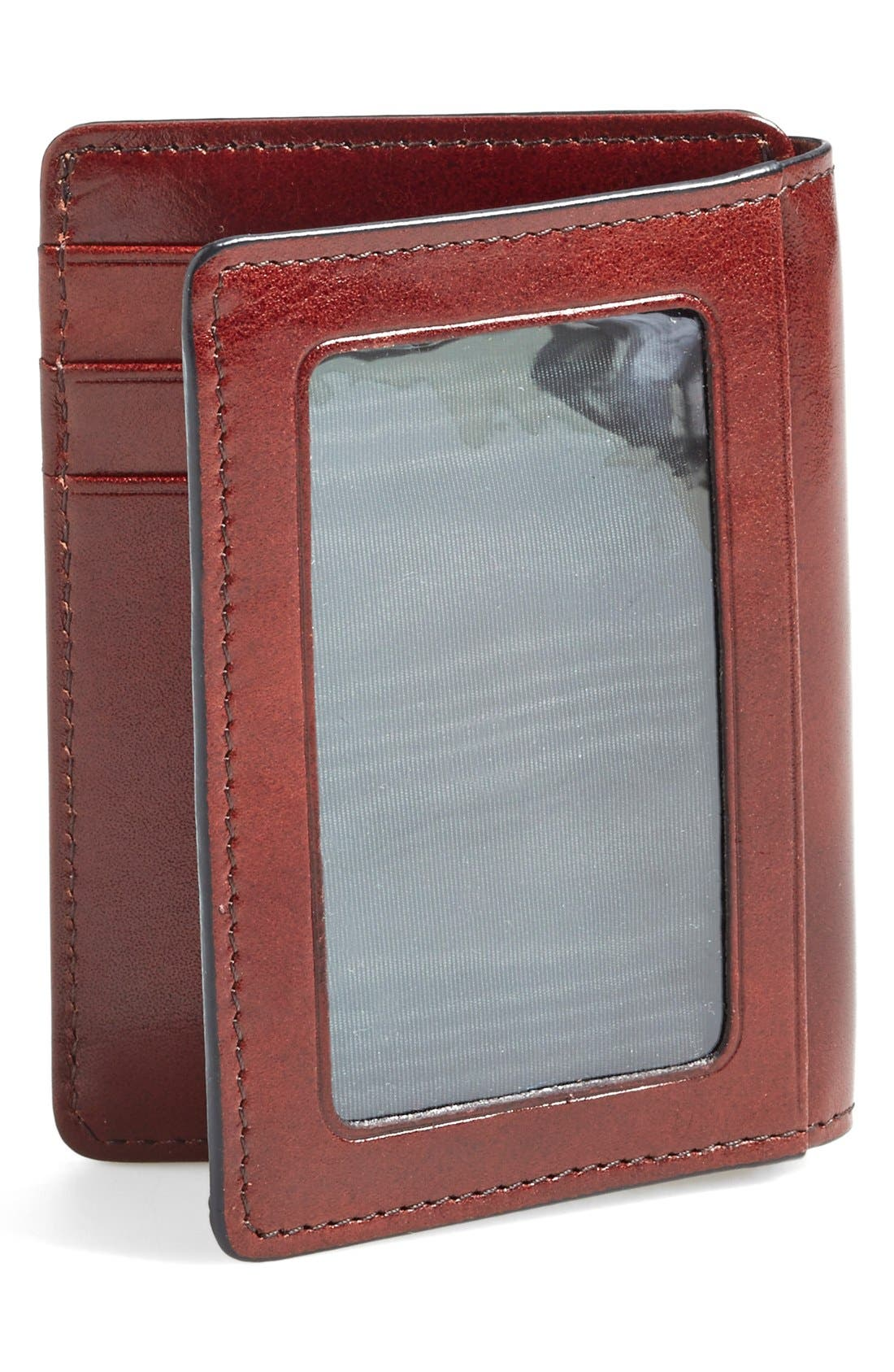 'Old Leather' Front Pocket ID Wallet,                             Alternate thumbnail 4, color,                             DARK BROWN