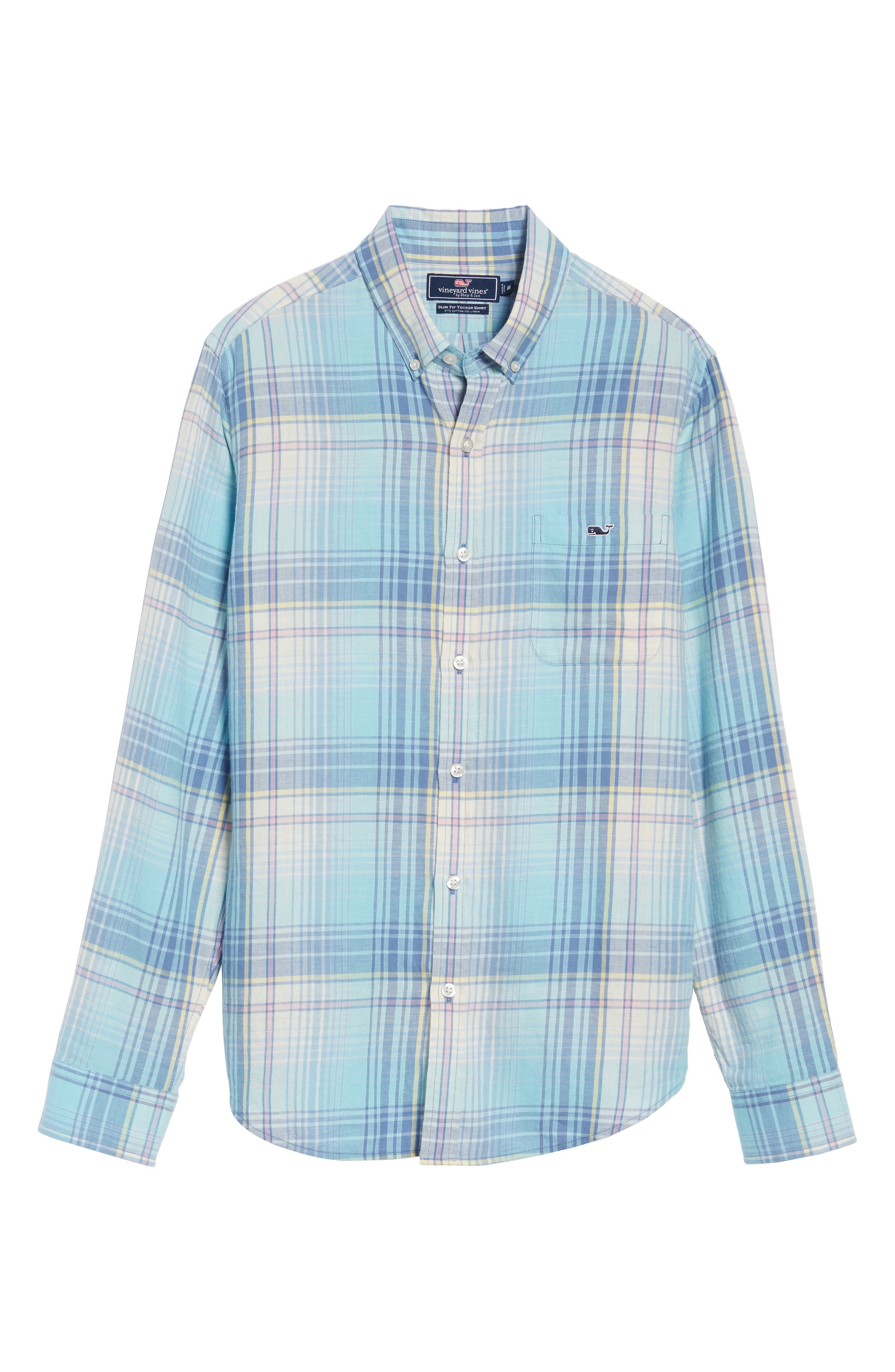 Pequot Plaid Slim Fit Tucker Sport Shirt,                             Alternate thumbnail 6, color,                             435