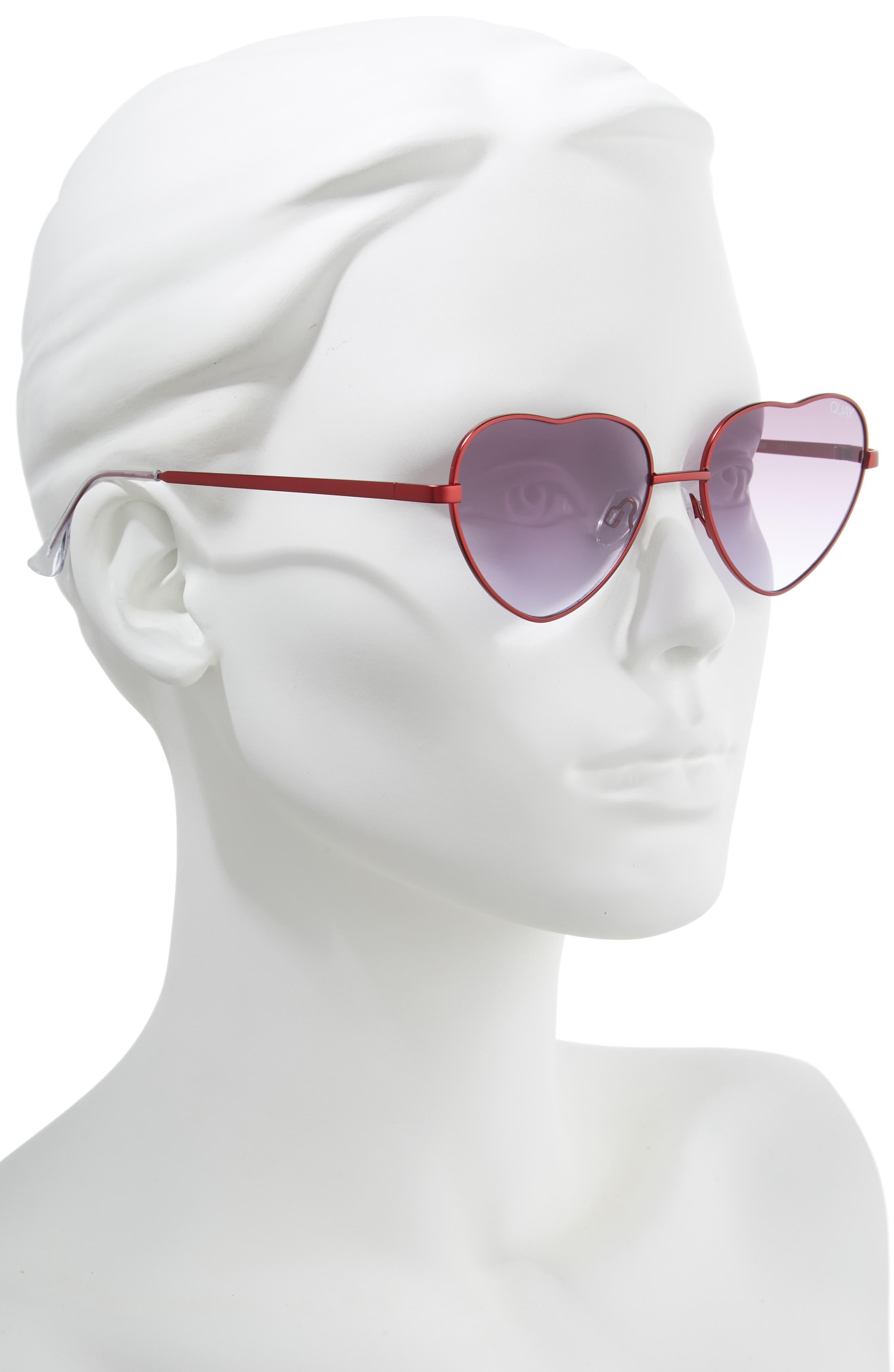 x Elle Ferguson Kim 55mm Heart Sunglasses,                             Alternate thumbnail 2, color,                             RED/ PURPLE FADE
