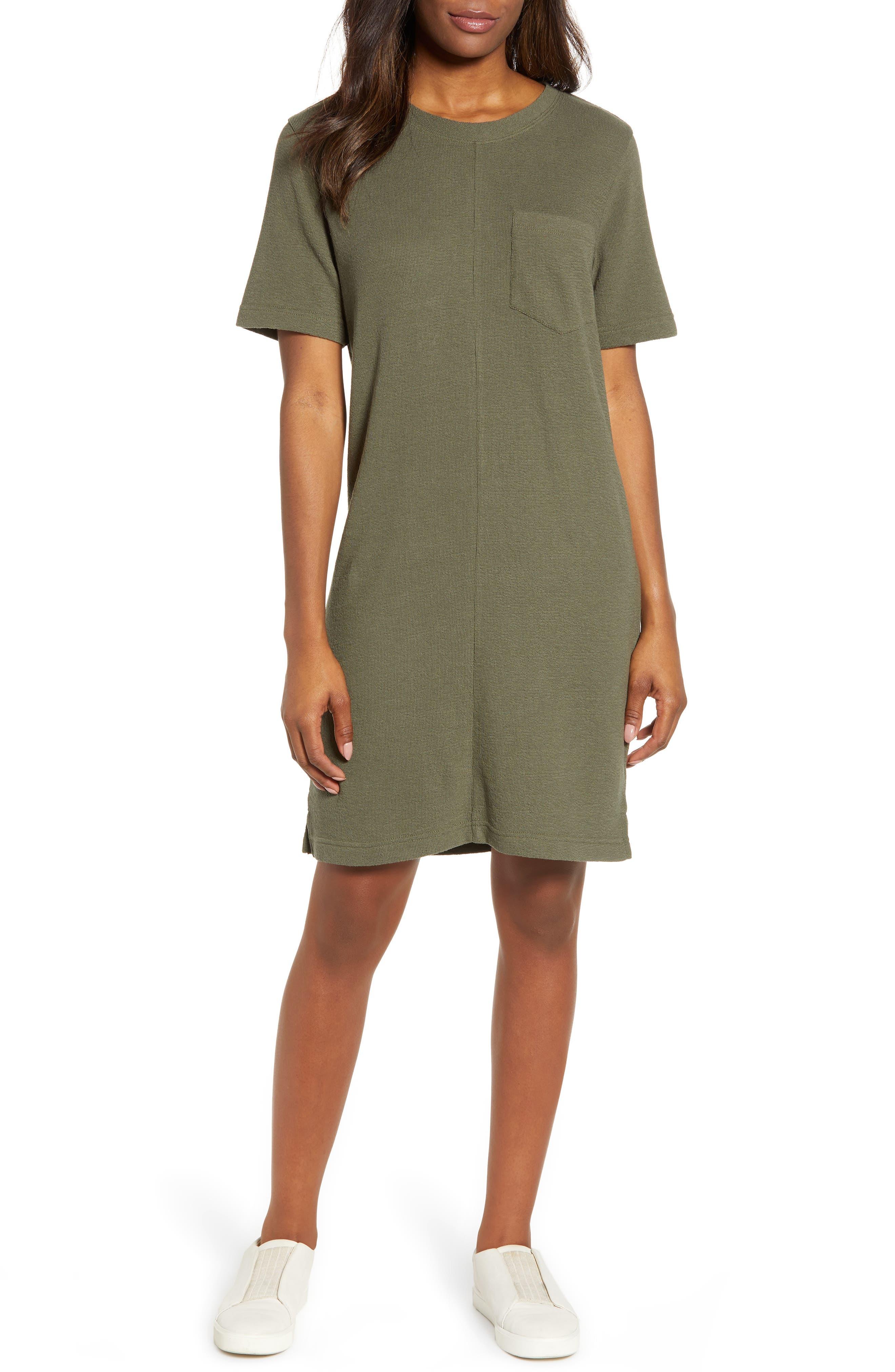 Petite Caslon T-Shirt Dress, Green