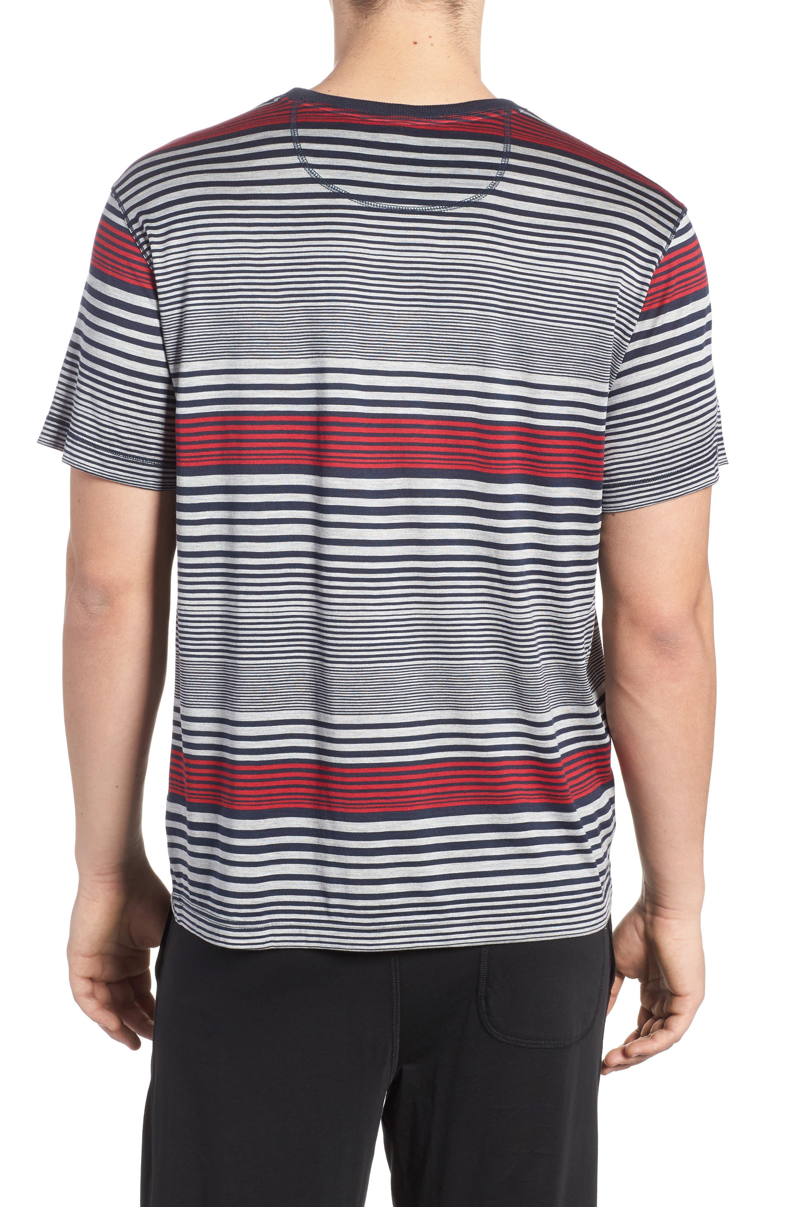 Stripe Silk & Cotton T-Shirt,                             Alternate thumbnail 2, color,                             400
