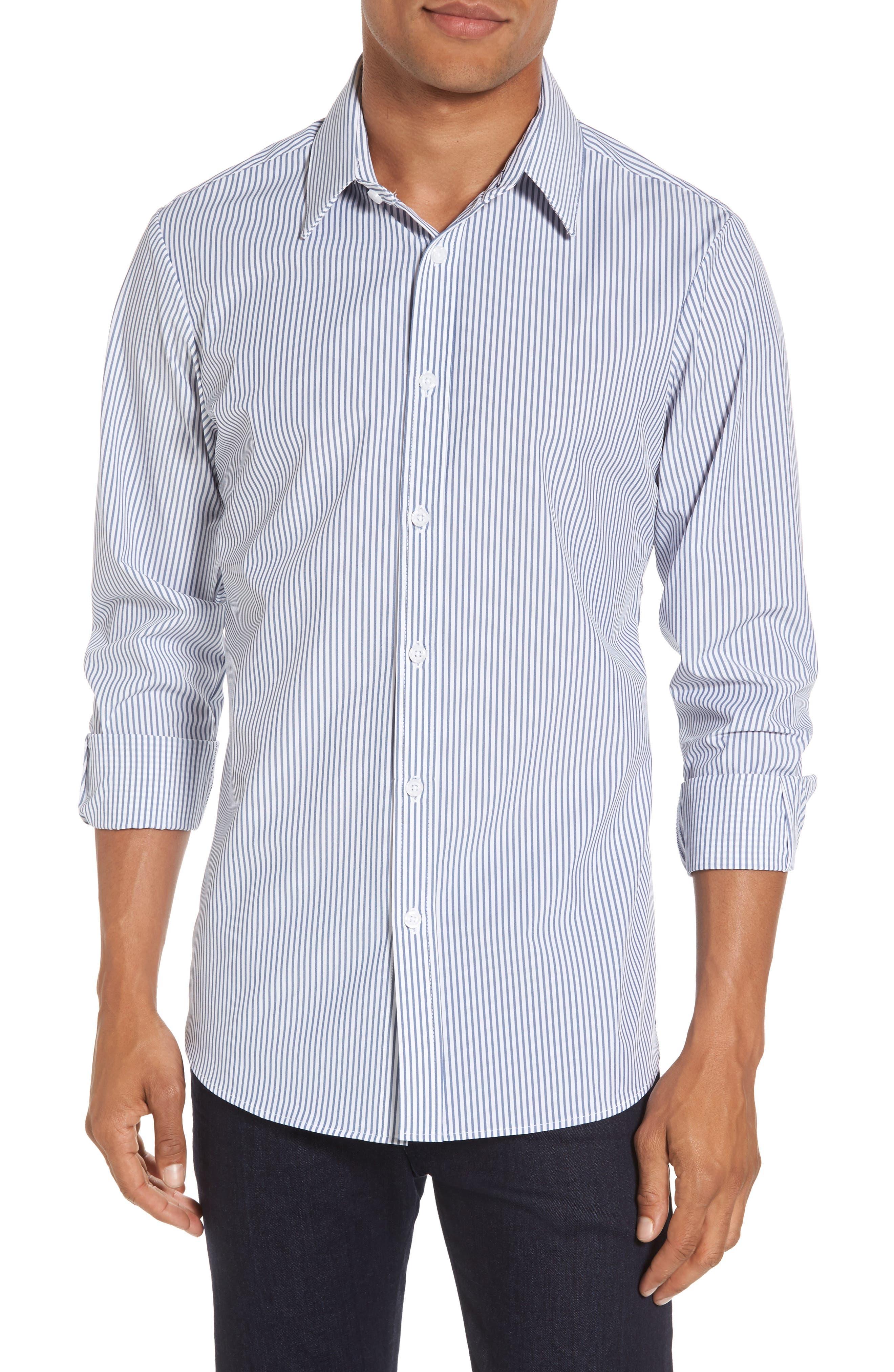 MIZZEN+MAIN Blue Label Wilkes Stripe Performance Sport Shirt, Main, color, BLUE