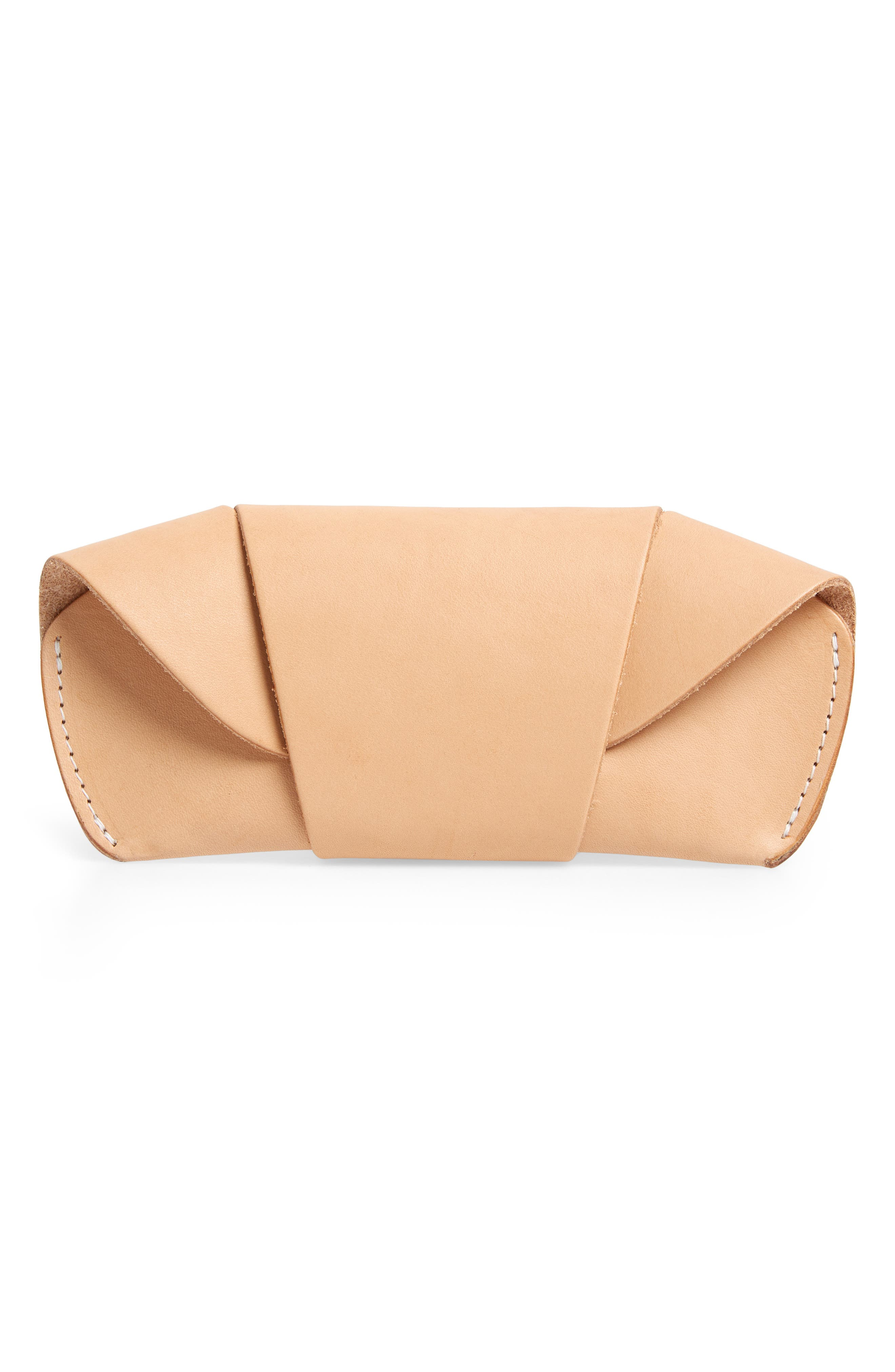 Leather Sunglass Case,                         Main,                         color, NATURAL