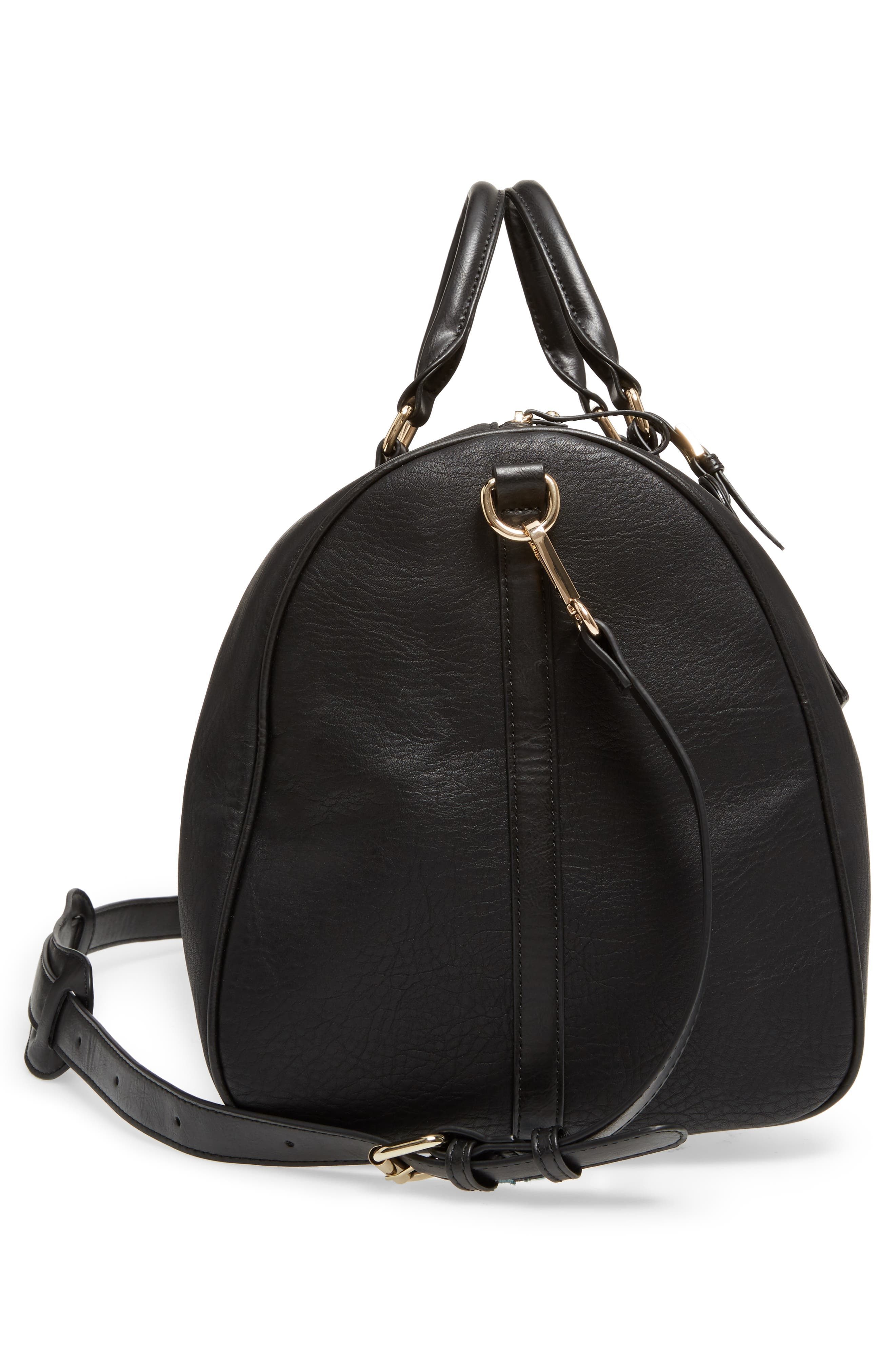 'Cassidy' Faux Leather Duffel Bag,                             Alternate thumbnail 5, color,                             002