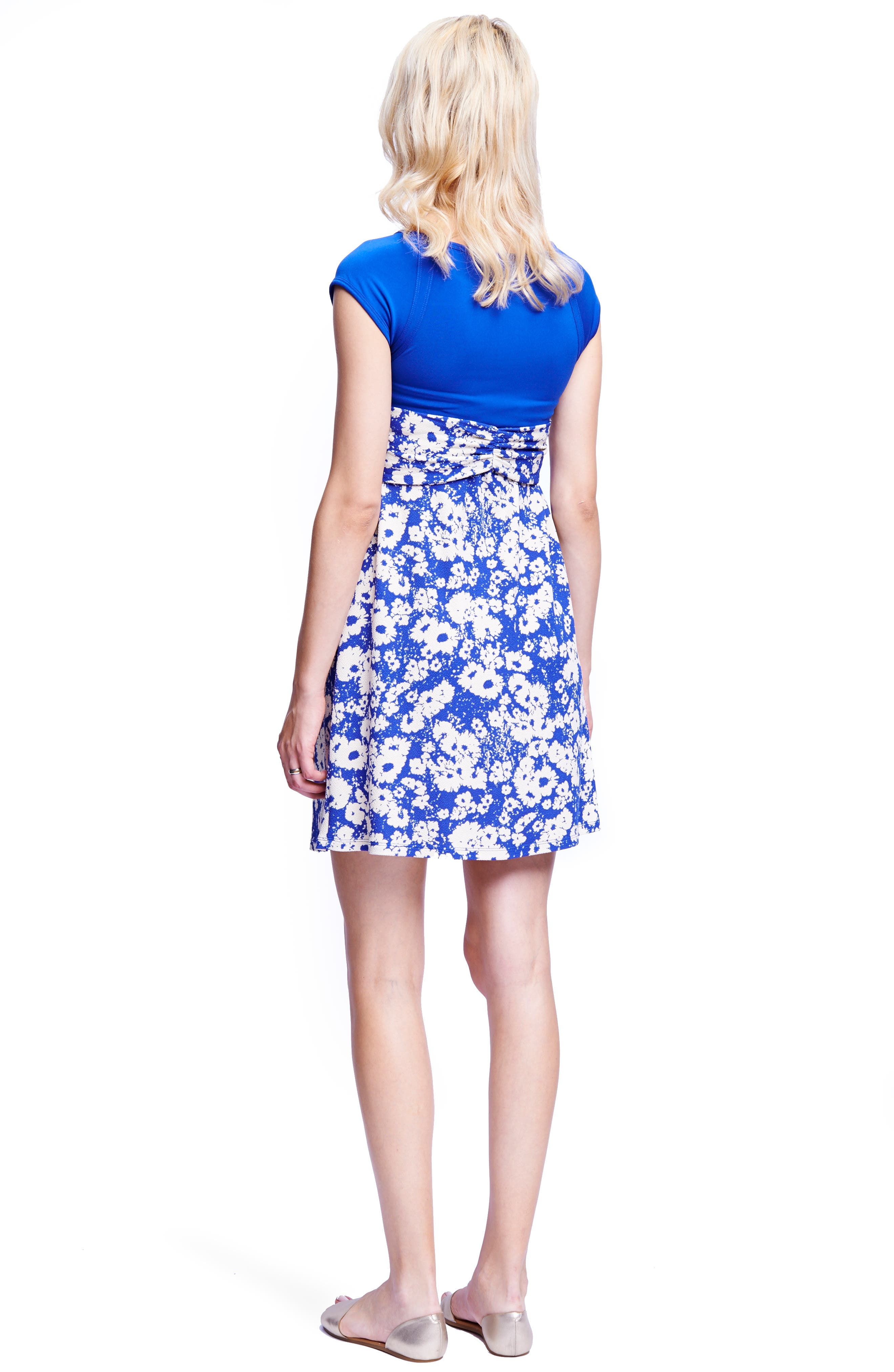 Tie Front Maternity Dress,                             Alternate thumbnail 2, color,                             ROYAL BLUE/ ABSTRACT DAISY
