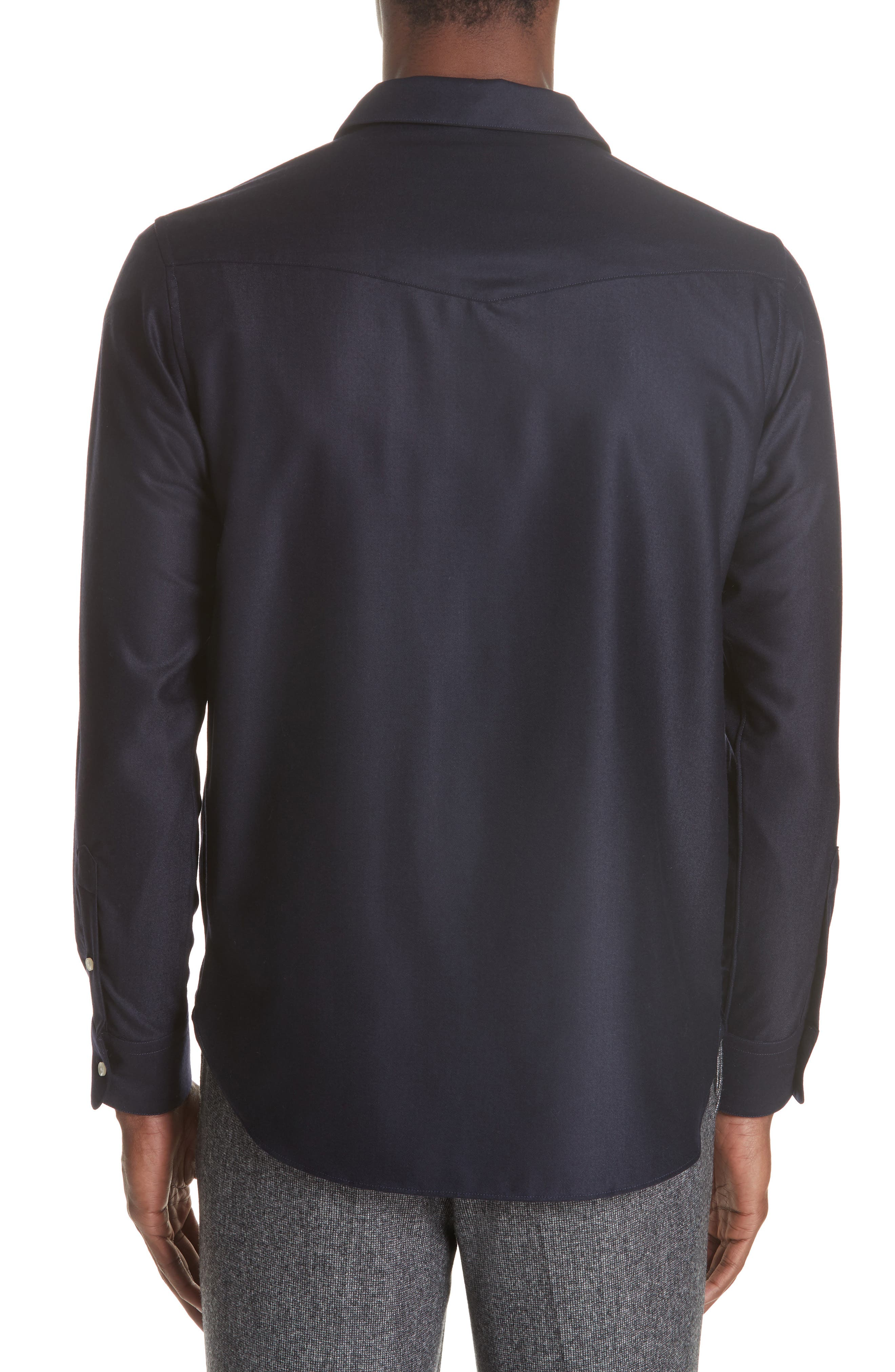 Officine Générale Woven Pullover Shirt,                             Alternate thumbnail 3, color,                             NAVY