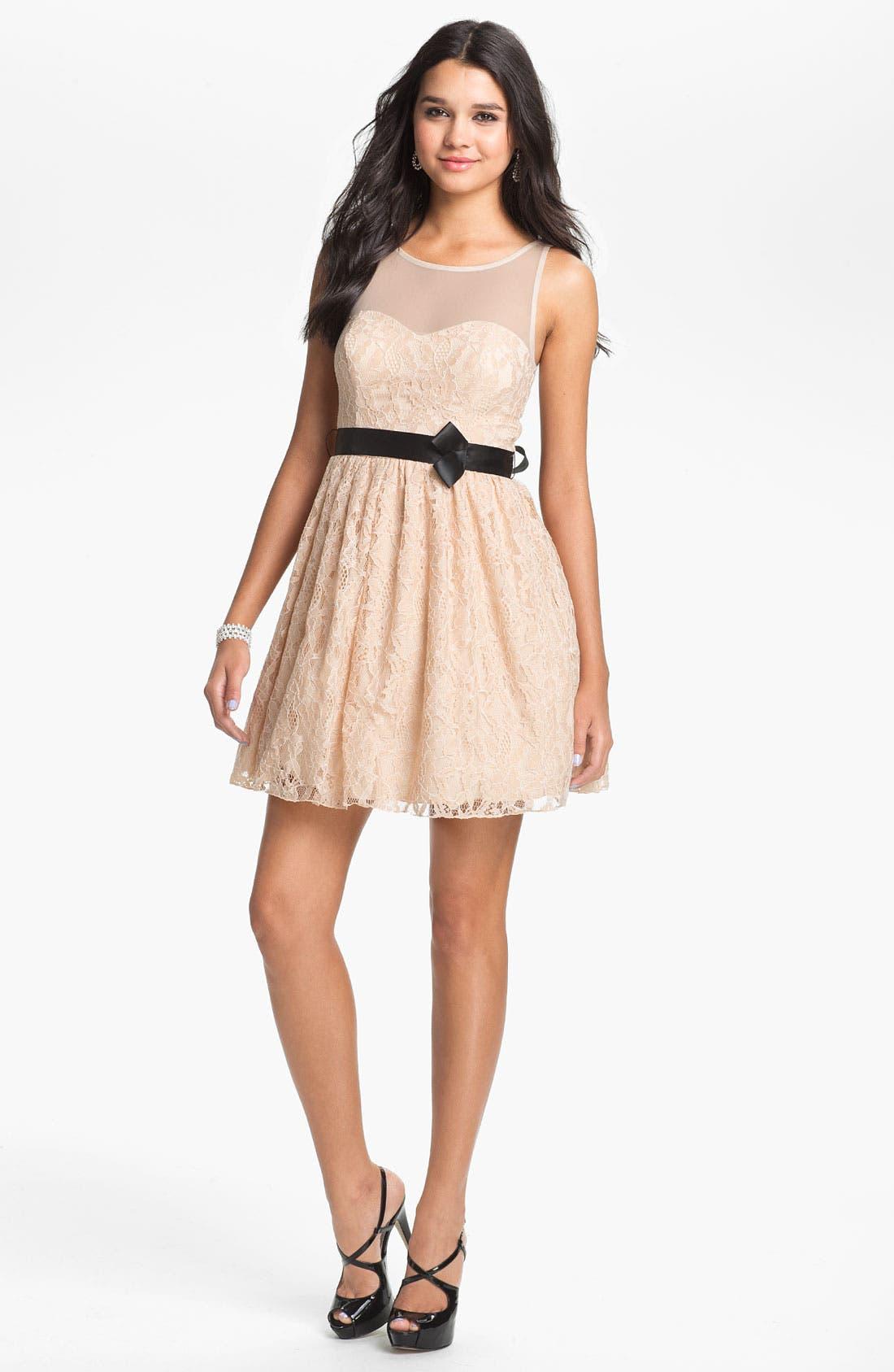 Illusion Lace Fit & Flare Dress,                             Main thumbnail 2, color,