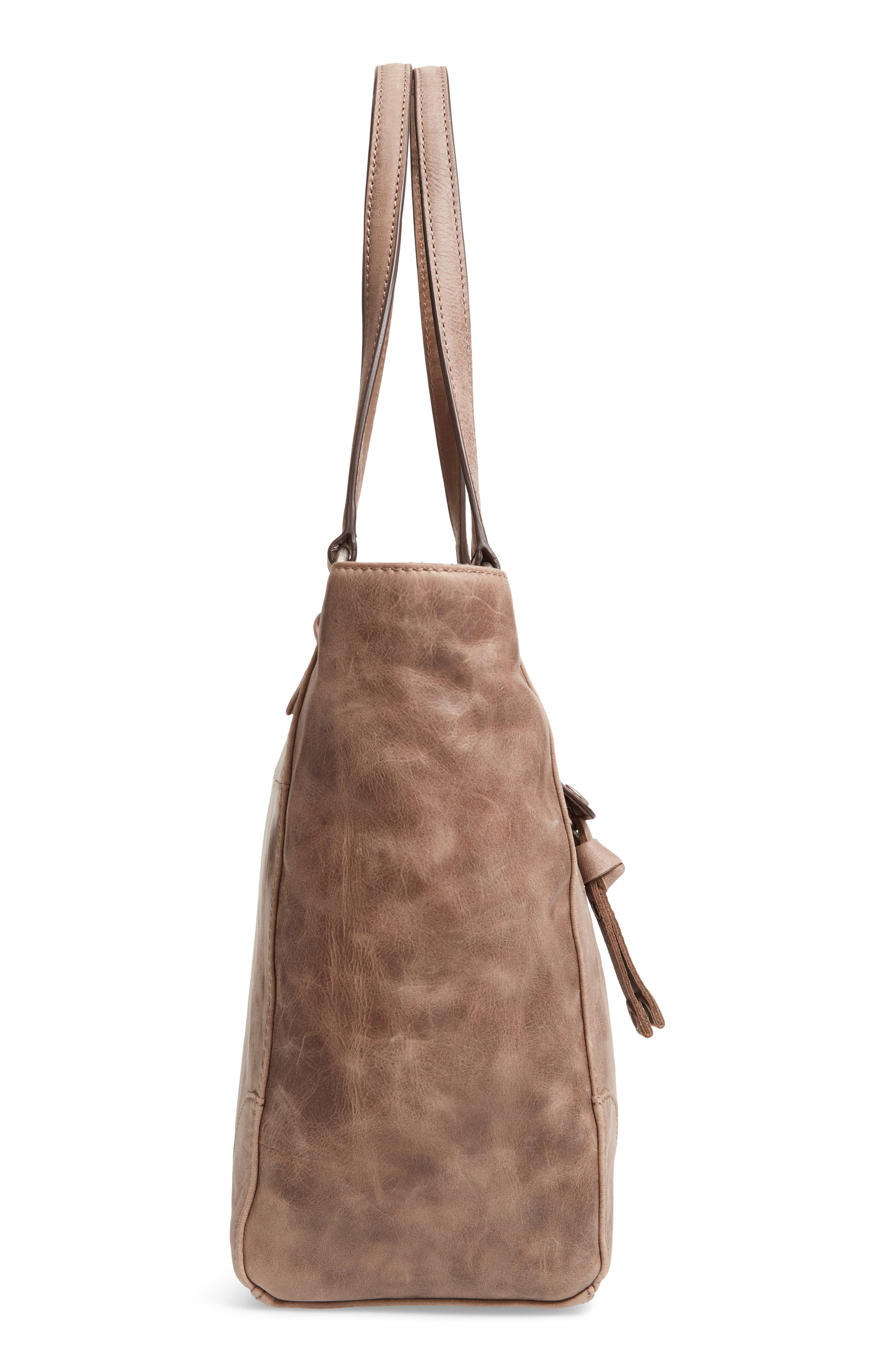 Melissa Zip Leather Tote,                             Alternate thumbnail 5, color,                             GREY