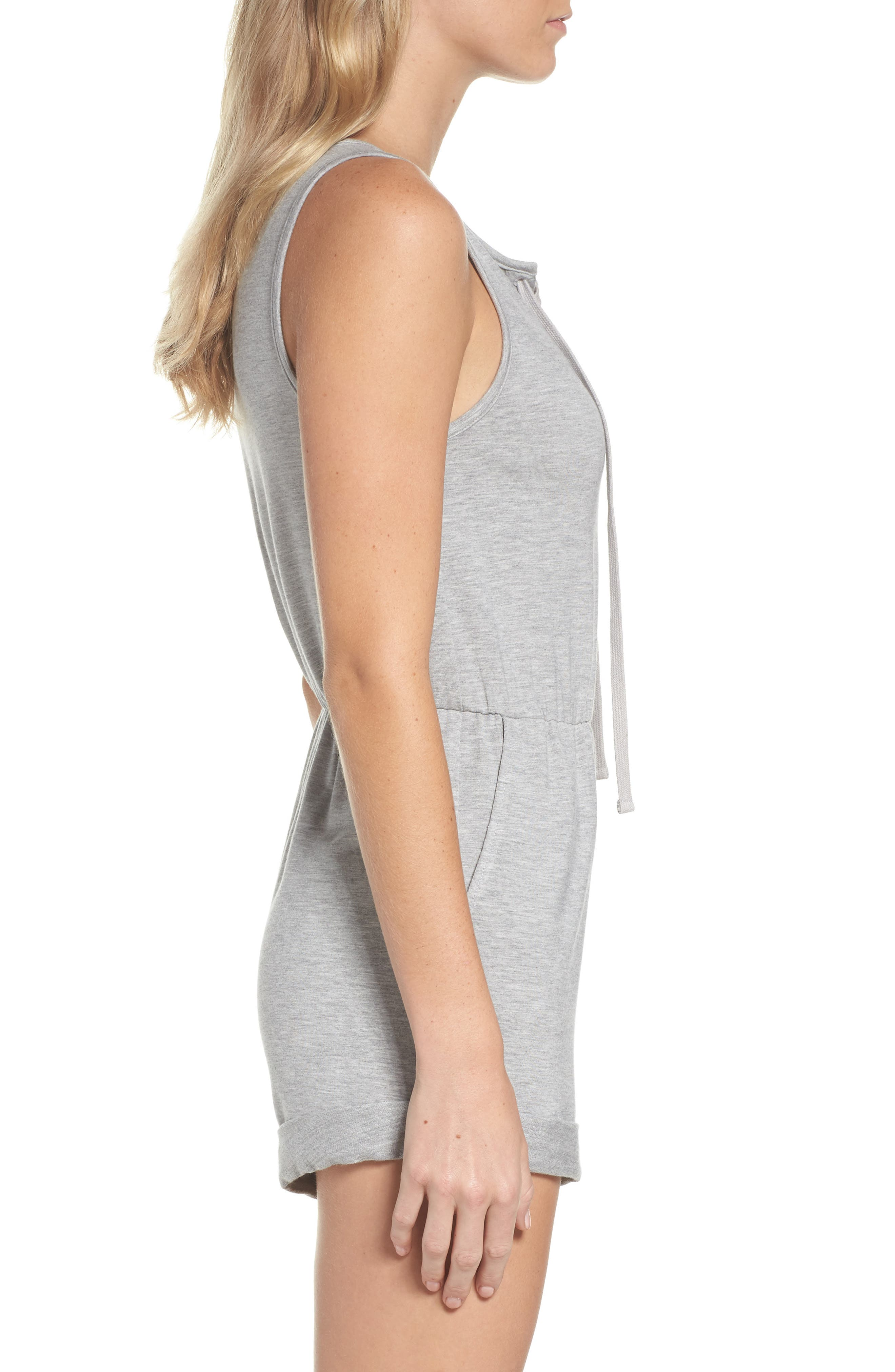 Zuelia French Terry Lounge Romper,                             Alternate thumbnail 3, color,                             H GREY