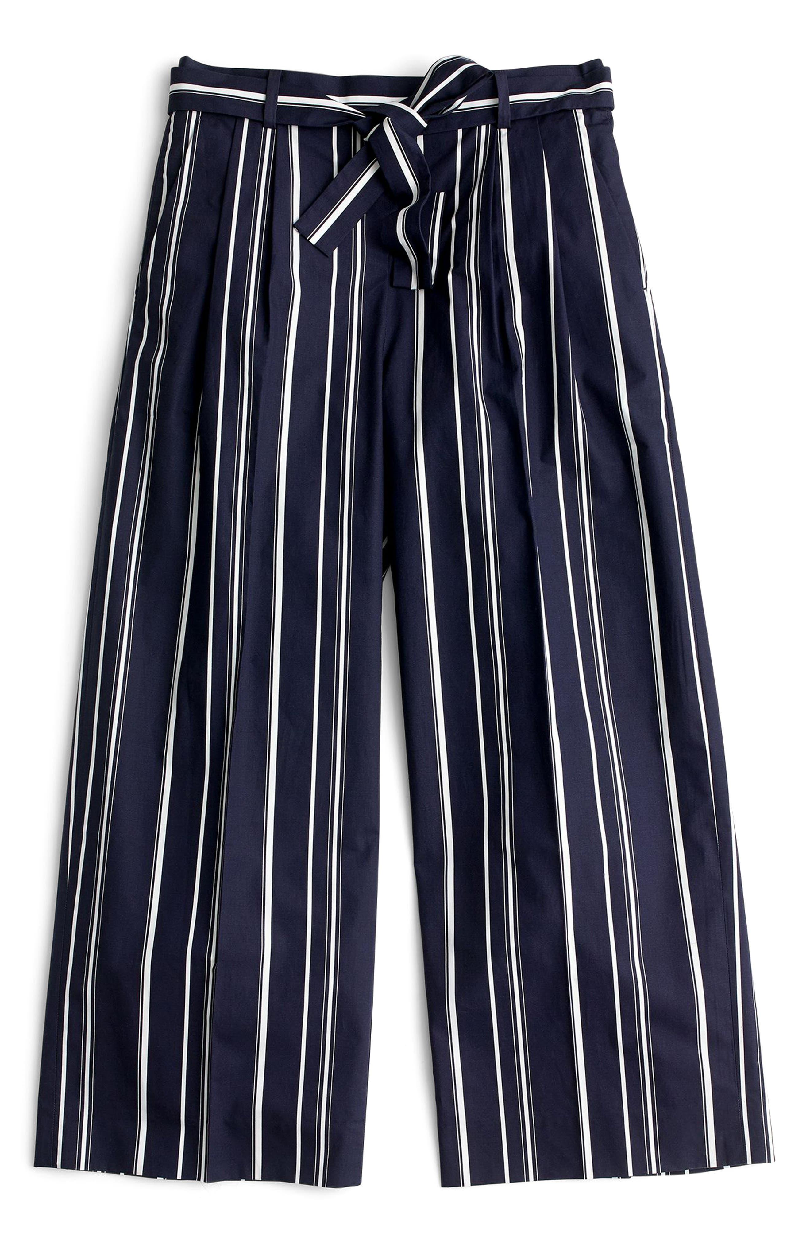 Wide Leg Stripe Cotton Poplin Pants,                             Alternate thumbnail 3, color,