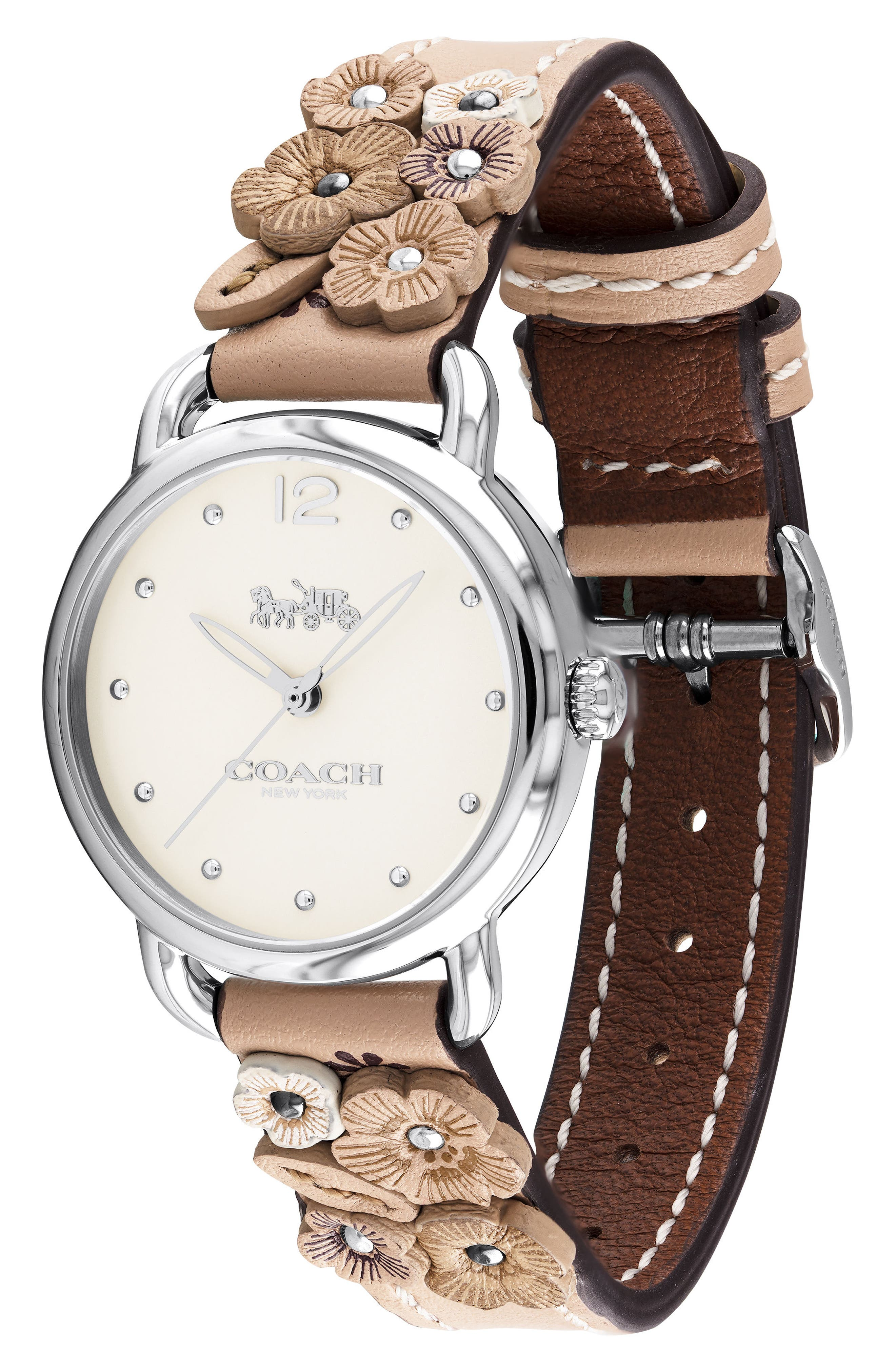 Delancey Floral Leather Strap Watch, 28mm,                             Alternate thumbnail 3, color,                             PINK/ WHITE/ SILVER