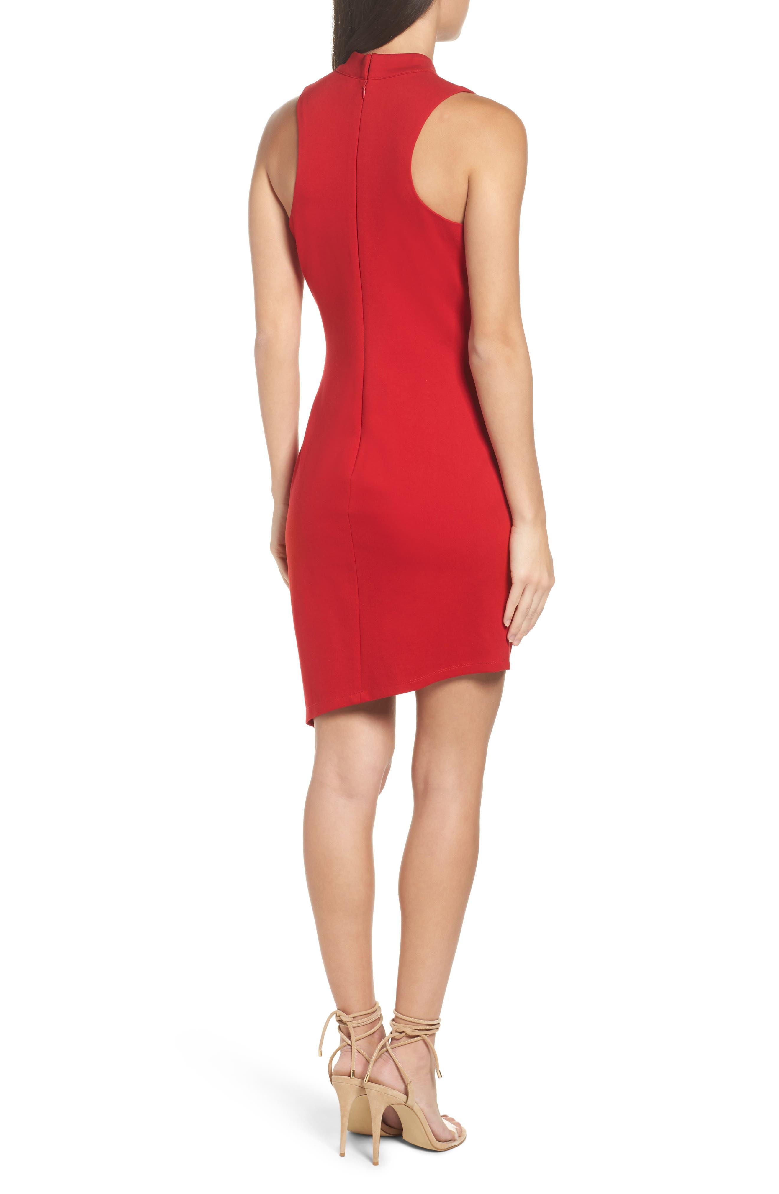 Choker Asymmetrical Body-Con Dress,                             Alternate thumbnail 2, color,