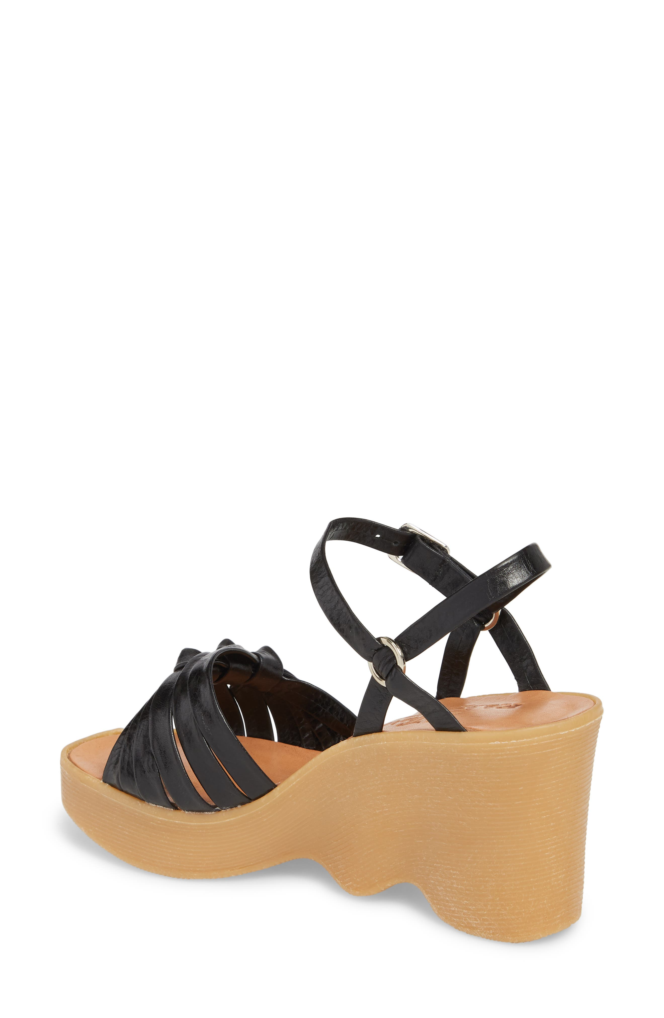 Knot So Fast Wedge Sandal,                             Alternate thumbnail 2, color,                             COAL LEATHER