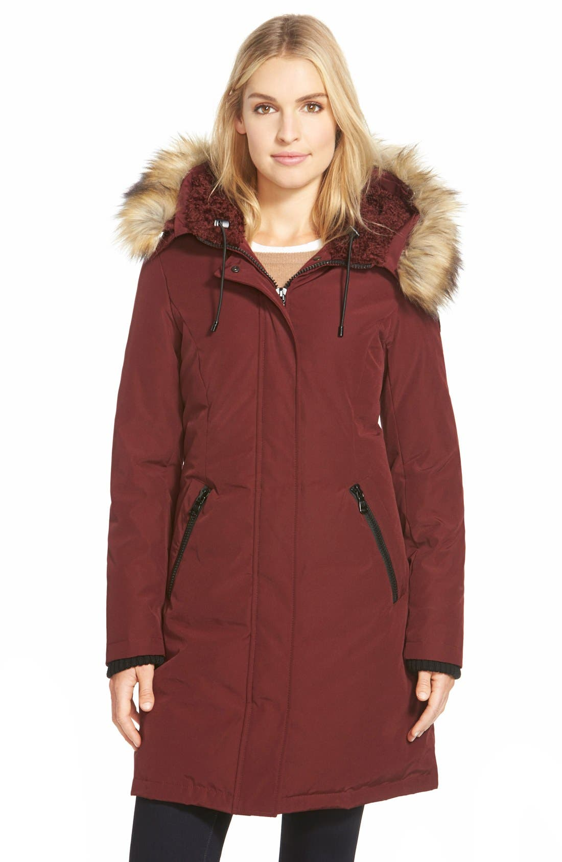 Down & Feather Fill Parka with Faux Fur Trim,                             Main thumbnail 6, color,