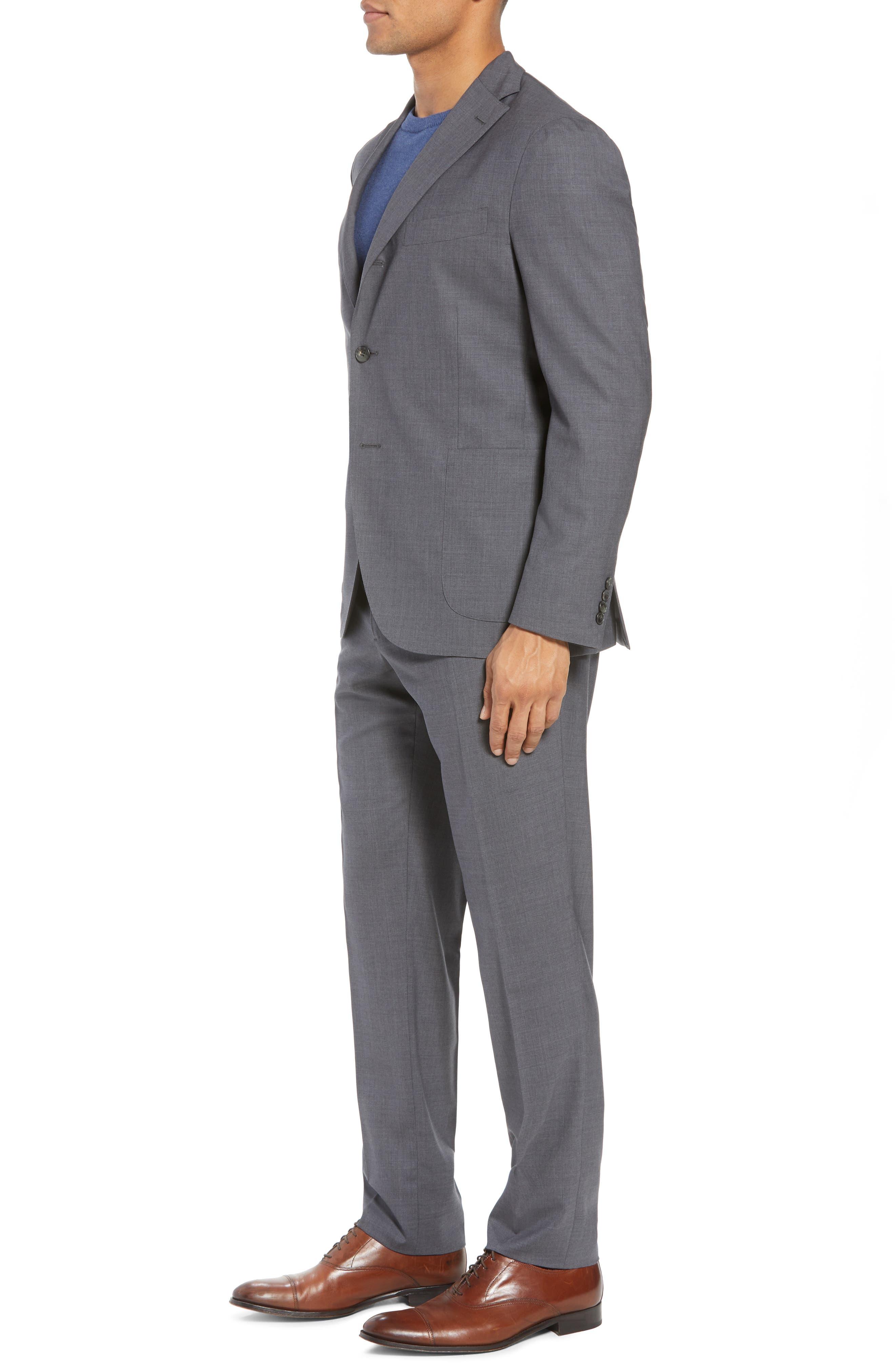 Trim Fit Solid Wool Suit,                             Alternate thumbnail 3, color,                             MEDIUM GREY