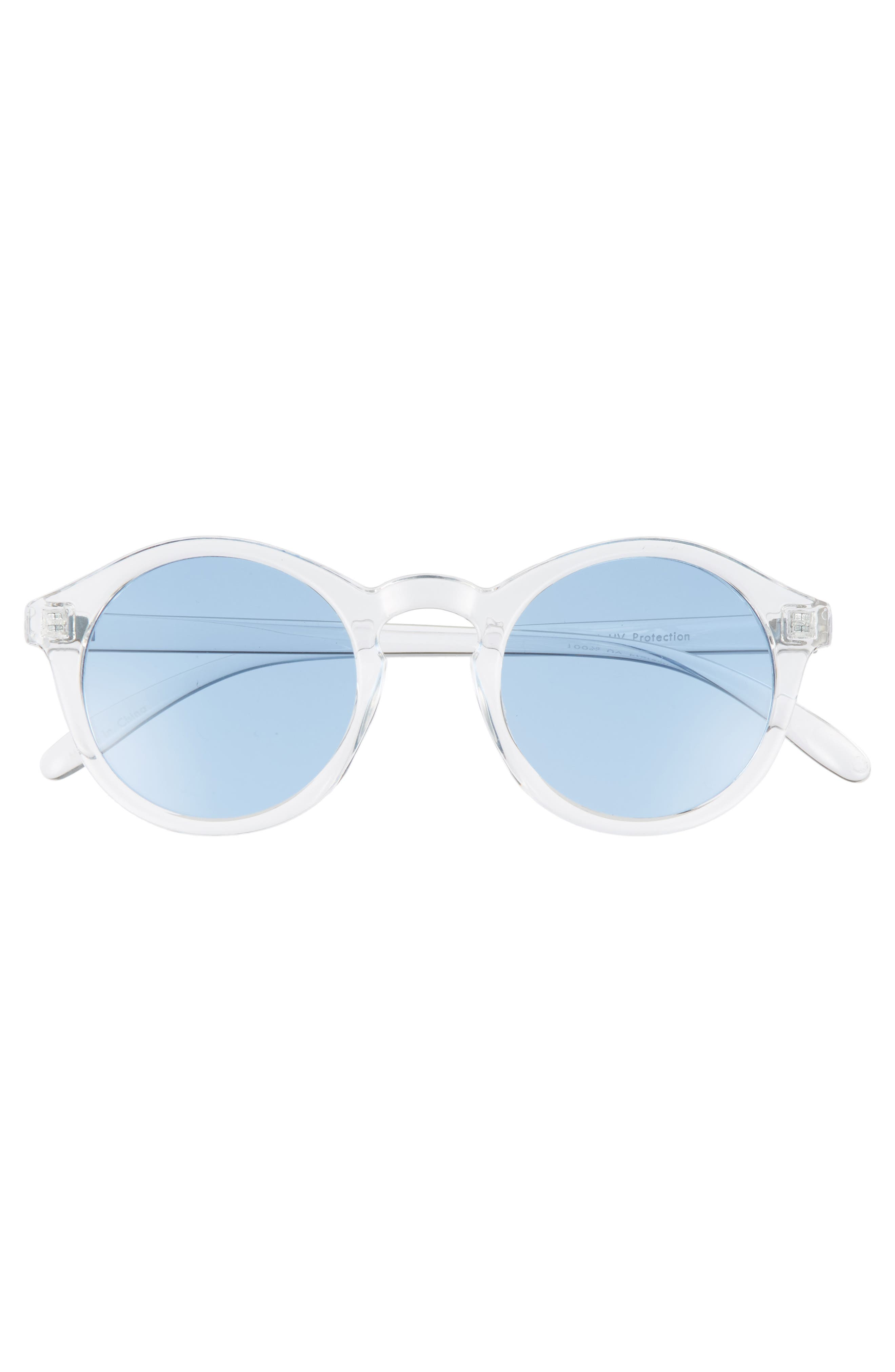 45mm Clear Plastic Small Round Sunglasses,                             Alternate thumbnail 3, color,                             100