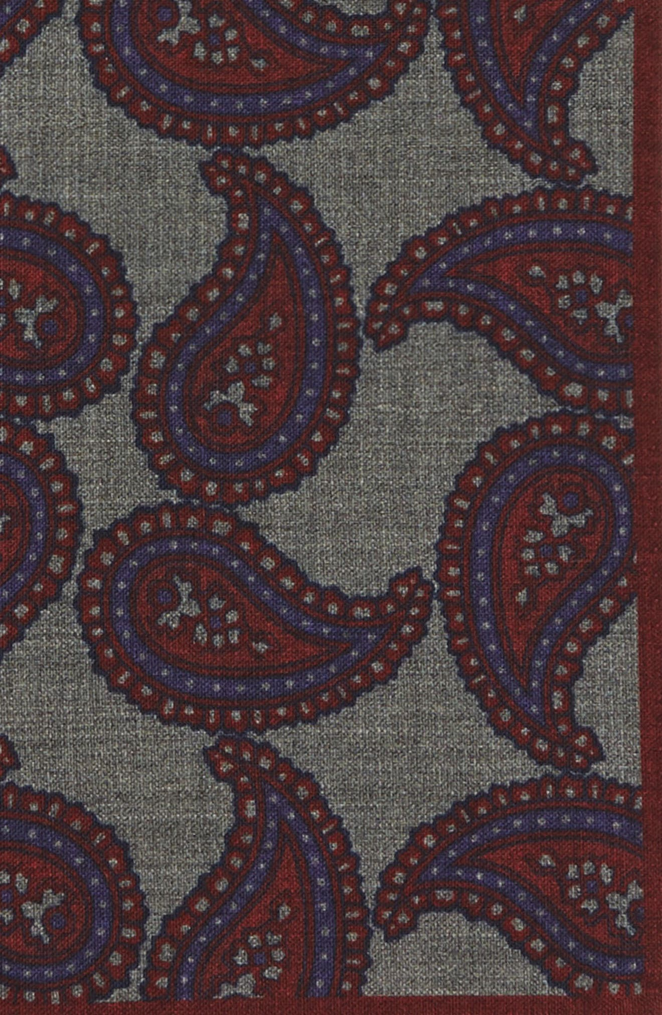 Paisley Wool Pocket Square,                             Alternate thumbnail 7, color,