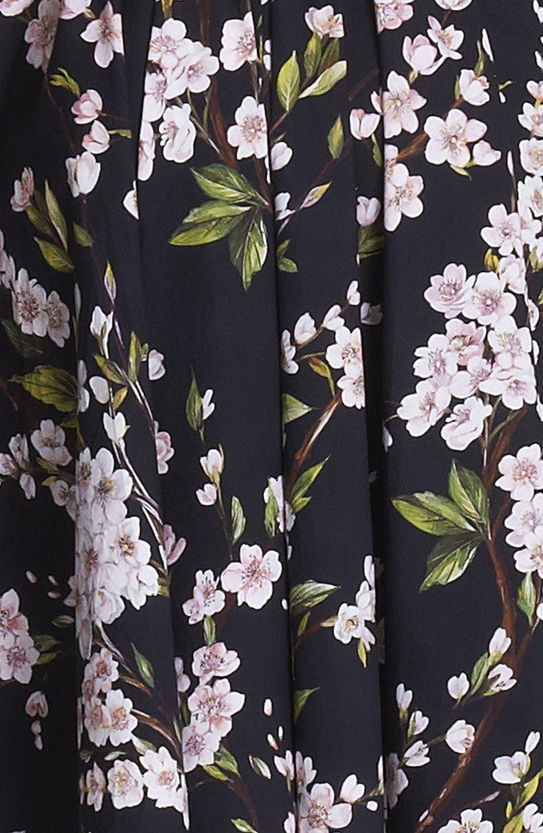 Print A-Line Cotton Skirt,                             Alternate thumbnail 3, color,                             001
