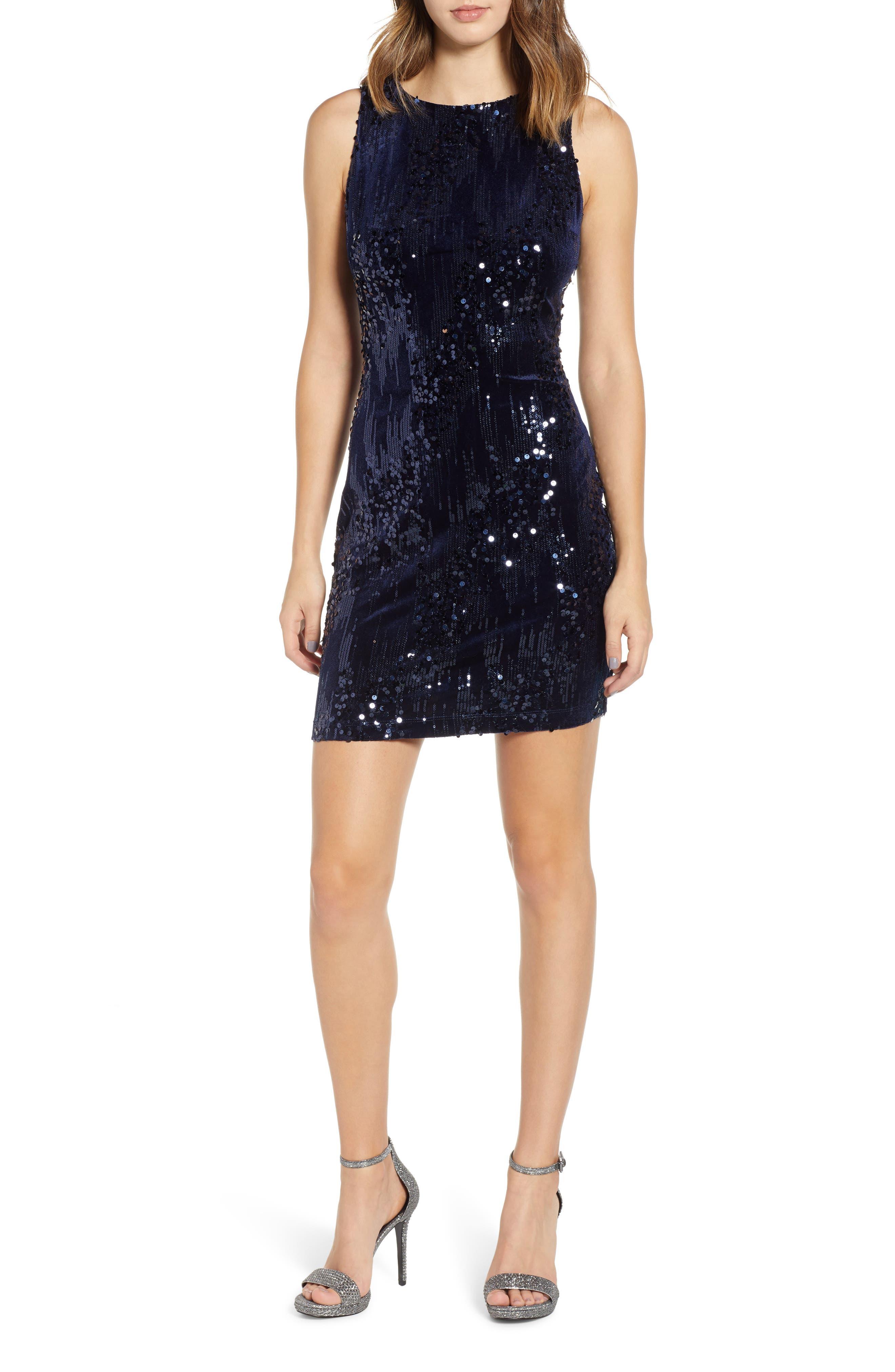 Sequin Velvet Sheath Dress,                             Main thumbnail 1, color,                             NAVY