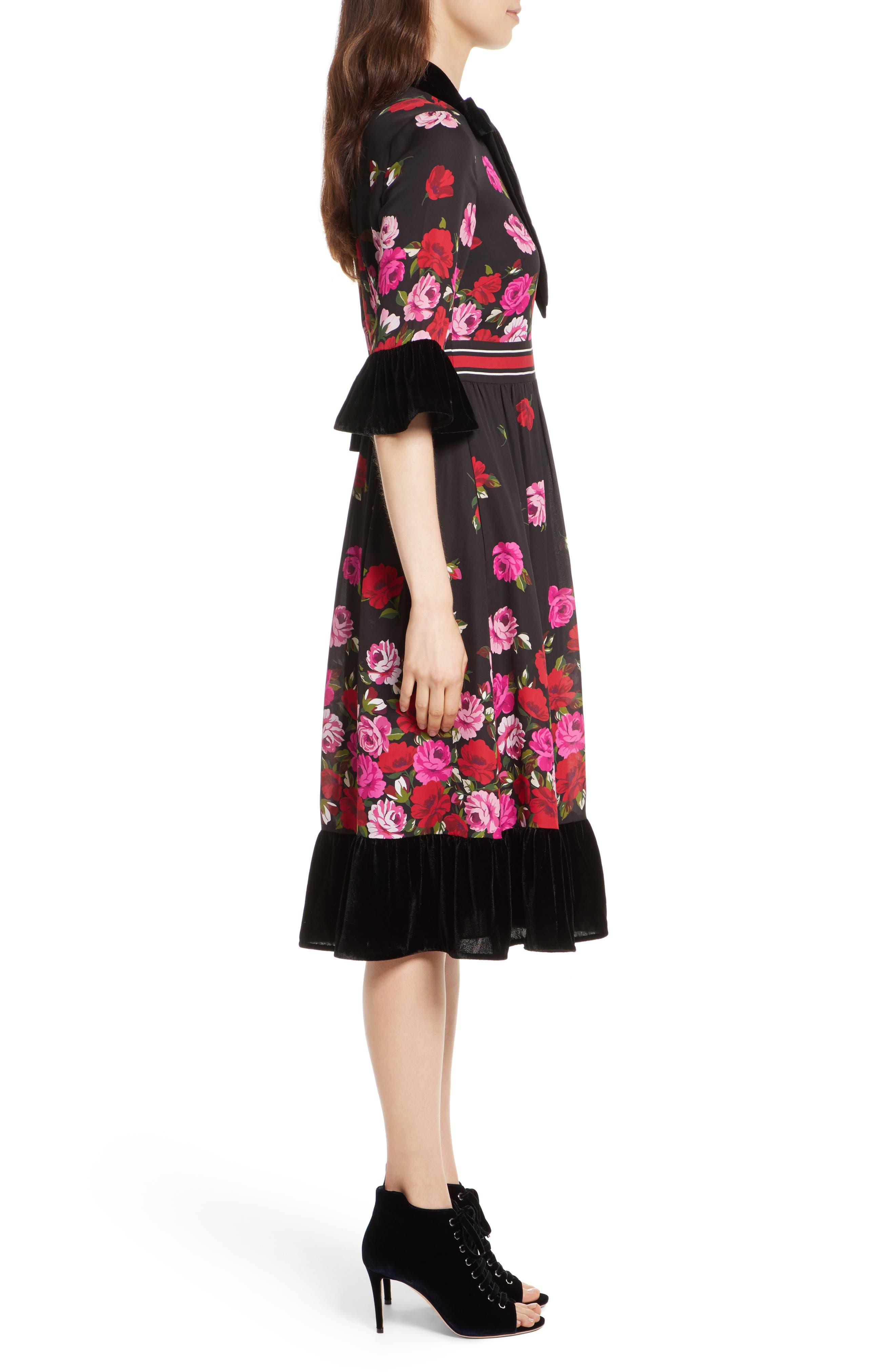 scattered rose velvet trim silk dress,                             Alternate thumbnail 3, color,                             006